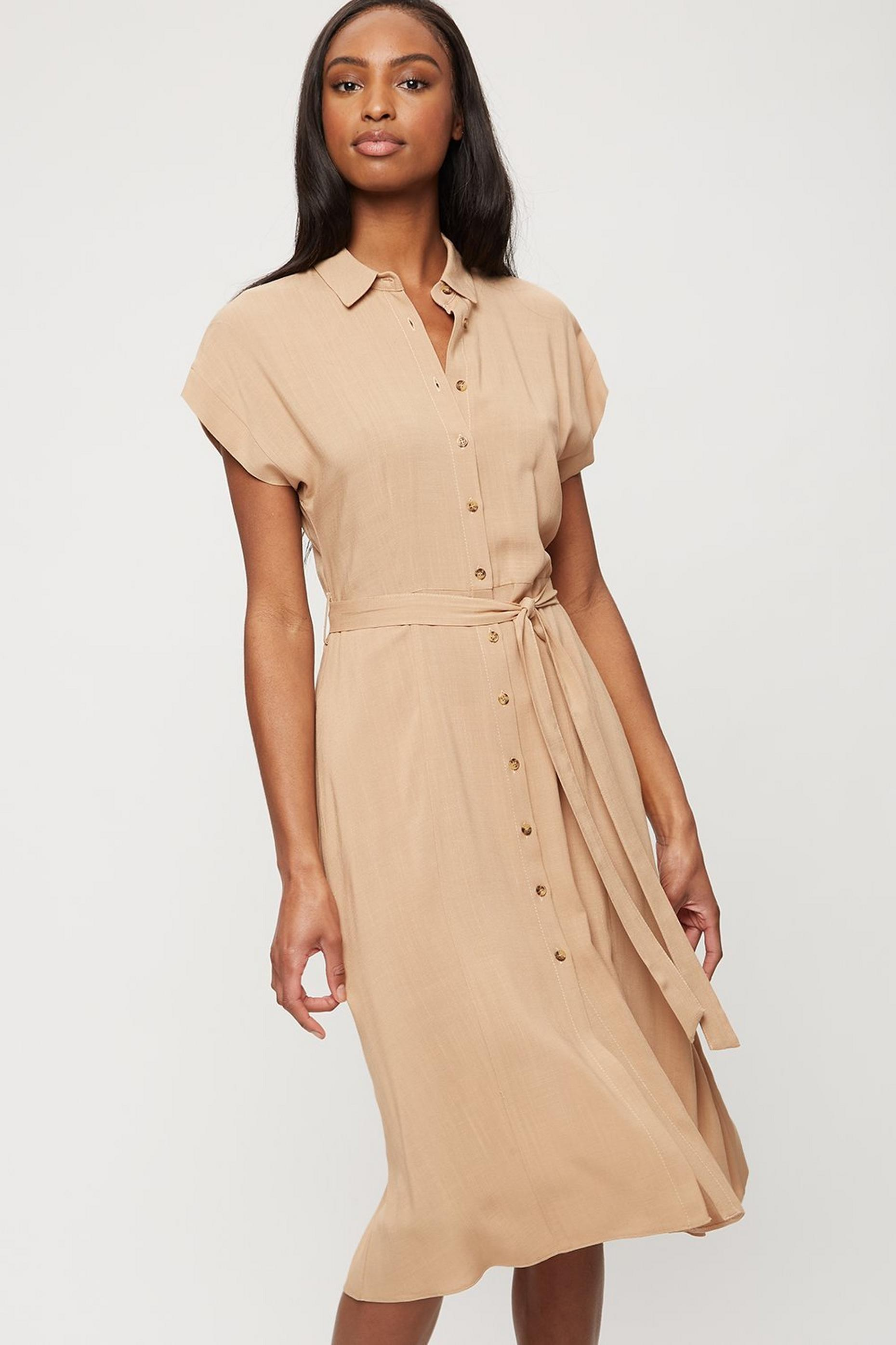 Camel Short Sleeve Midi Shirt Dress