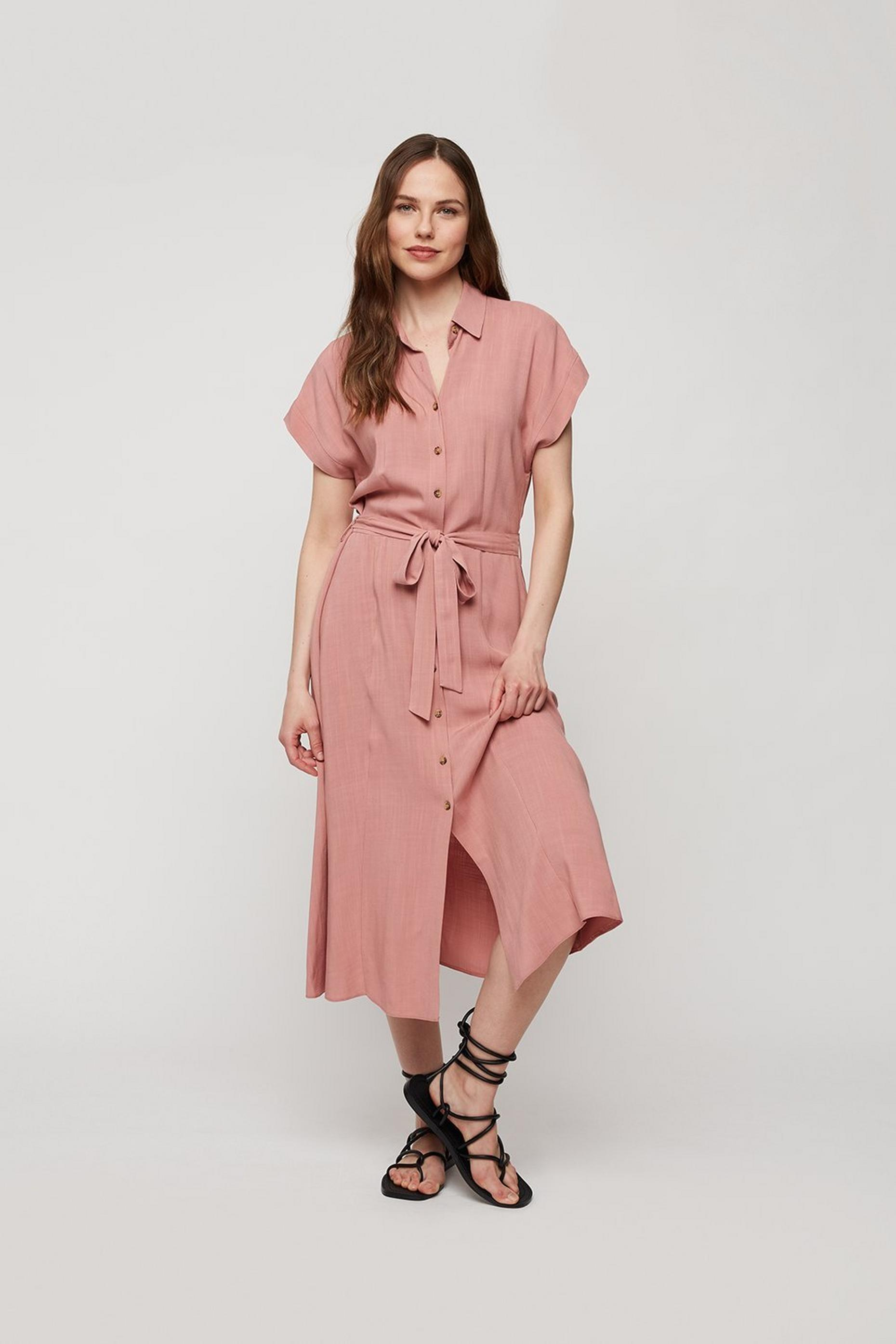 Rose Short Sleeve Midi Shirt Dress