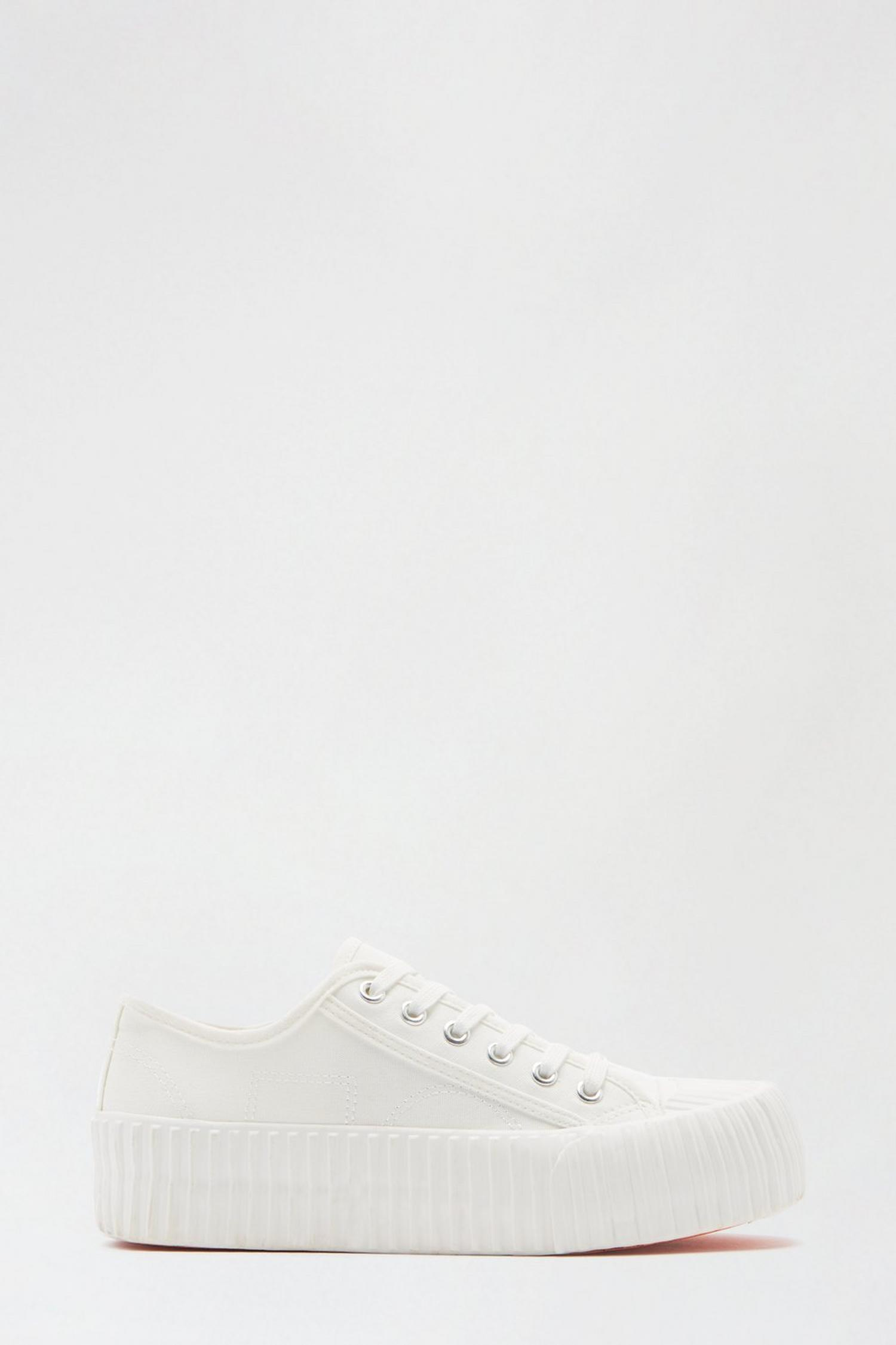 173 White Neptune Flatform Lace Up Trainer image number 1