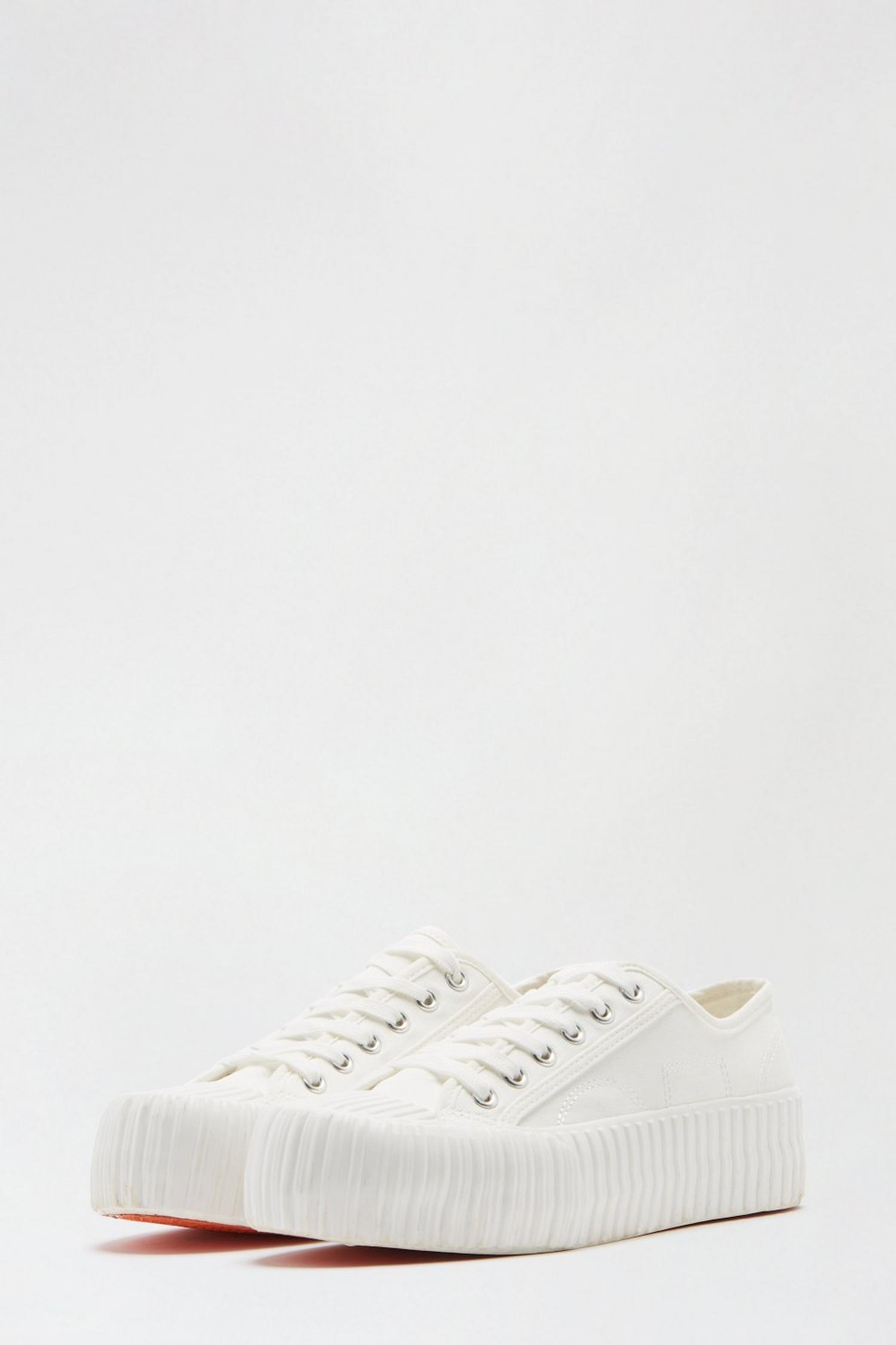 173 White Neptune Flatform Lace Up Trainer image number 2