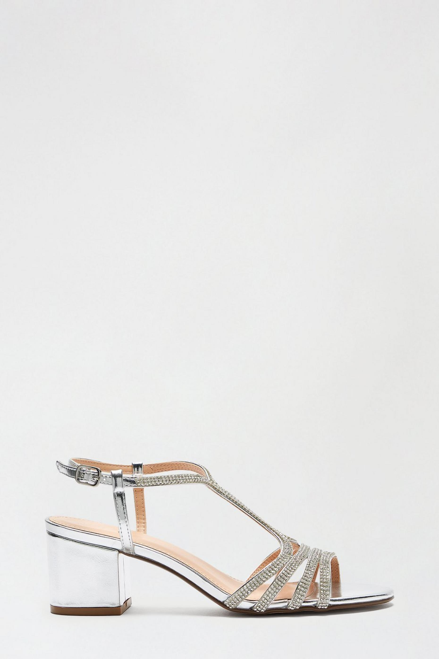 Silver Spice Diamante Cage Heeled Sandal