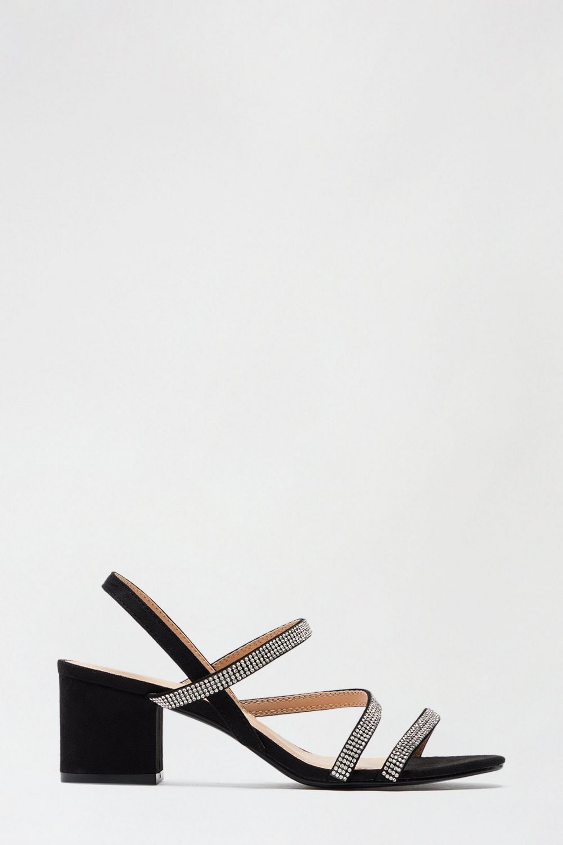 Black Slay Diamante Straps Heeled Sandal