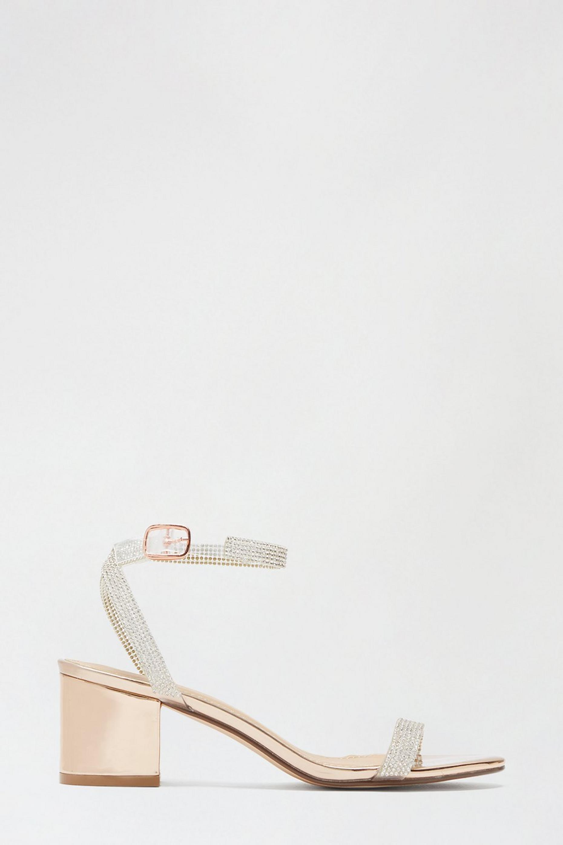 Rosegold Shine Diamante Strap Heeled Sandal