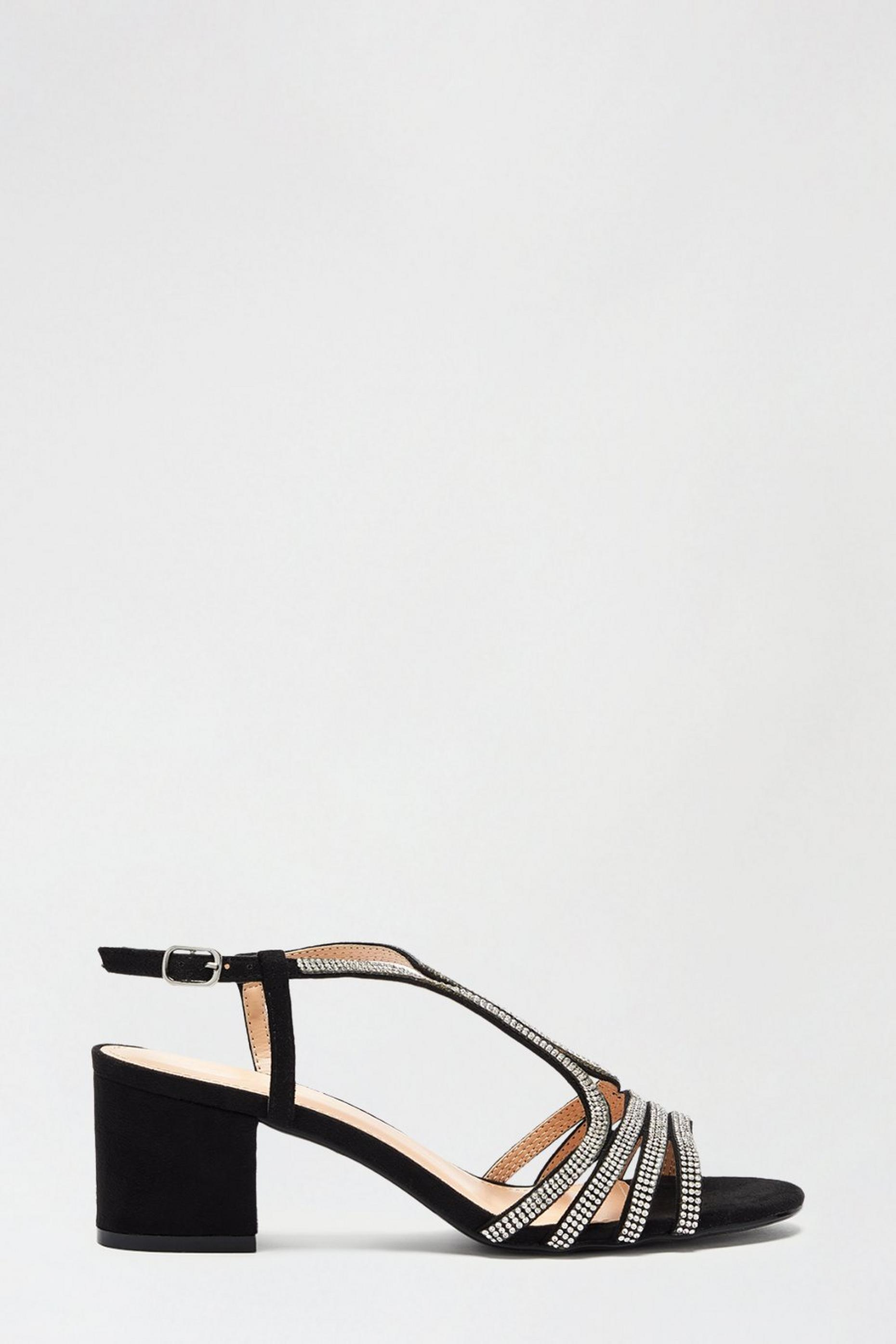 Black Spice Diamante Cage Heeled Sandal