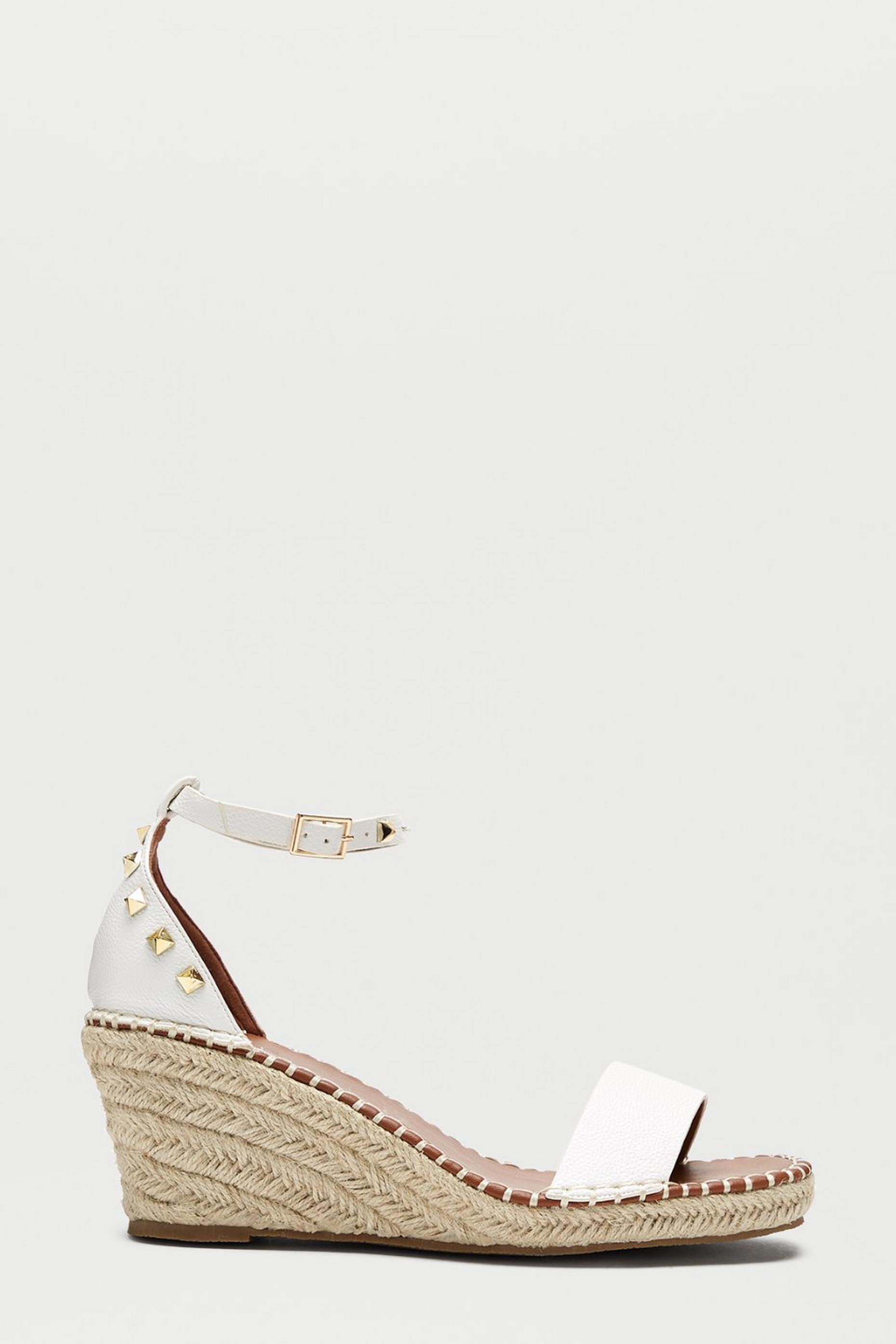 White Rockstar Studded Espadrille Wedge