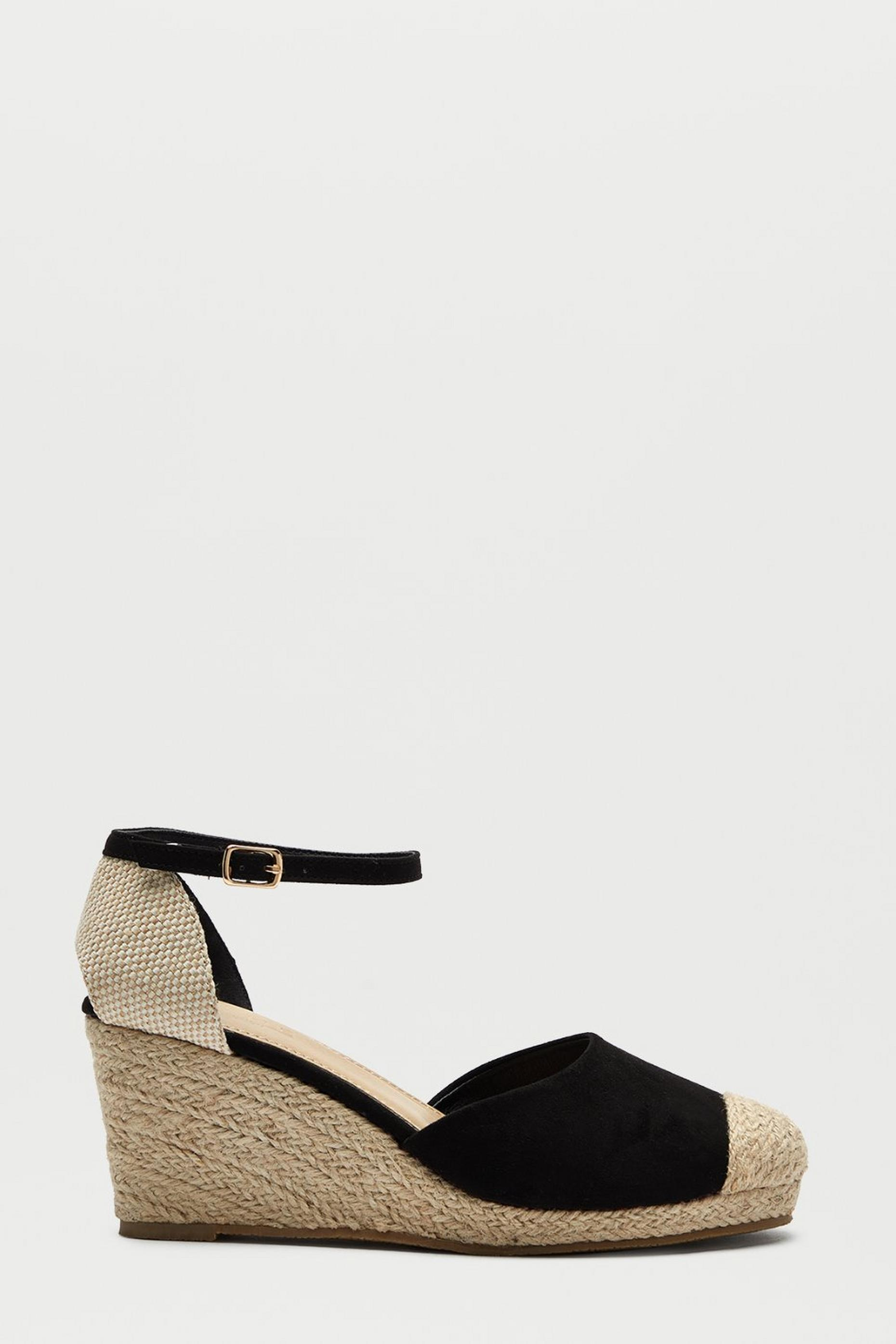 Black Rowan Two Part Espadrille Wedge