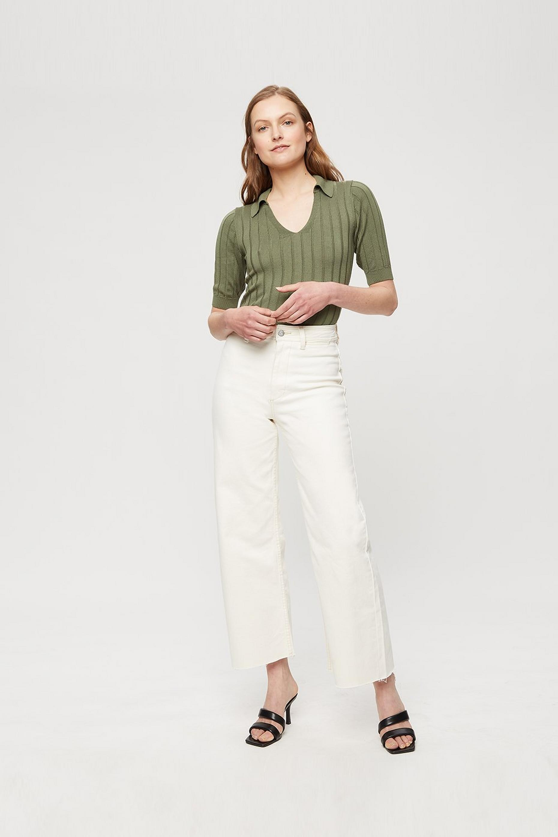Khaki Rib Polo Top