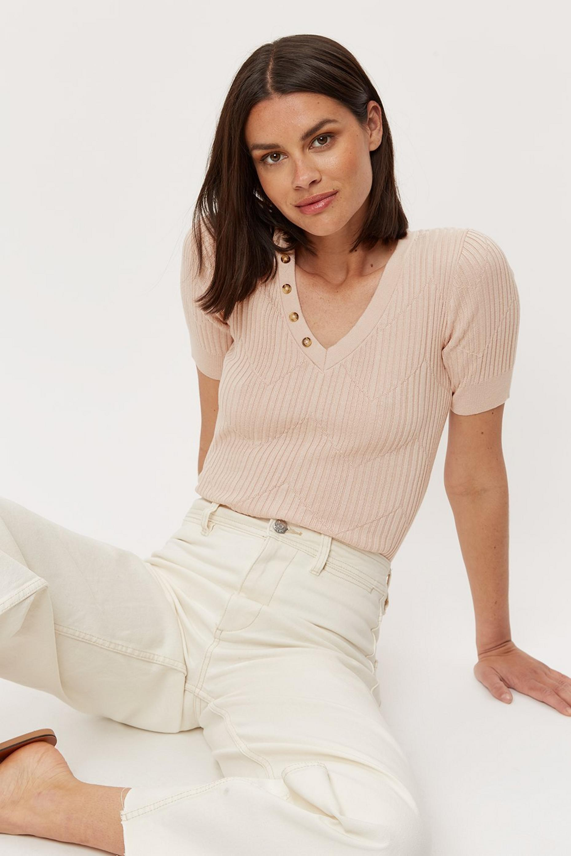 Blush V Neck Button Tee