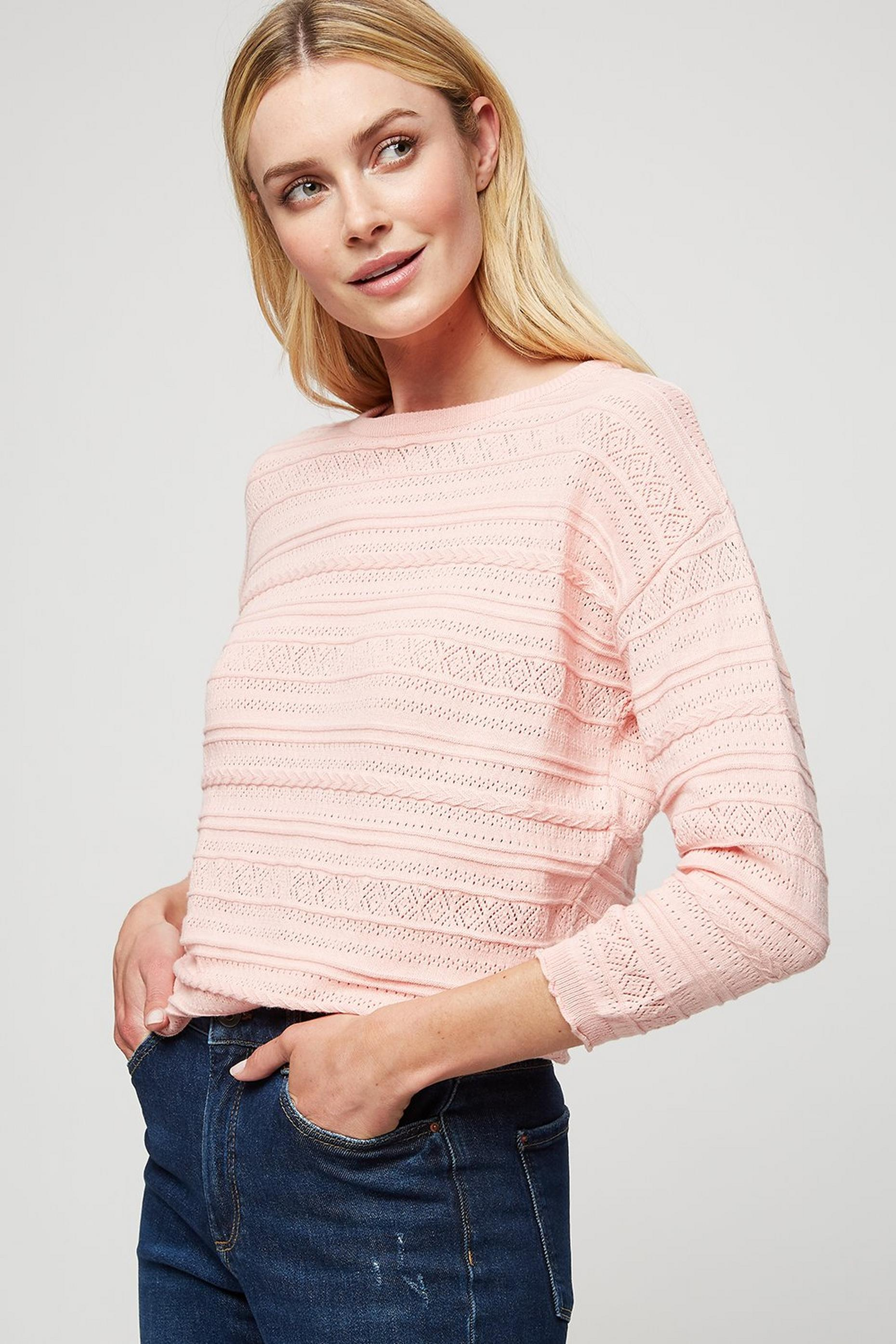 Blush Pointelle Batwing Jumper