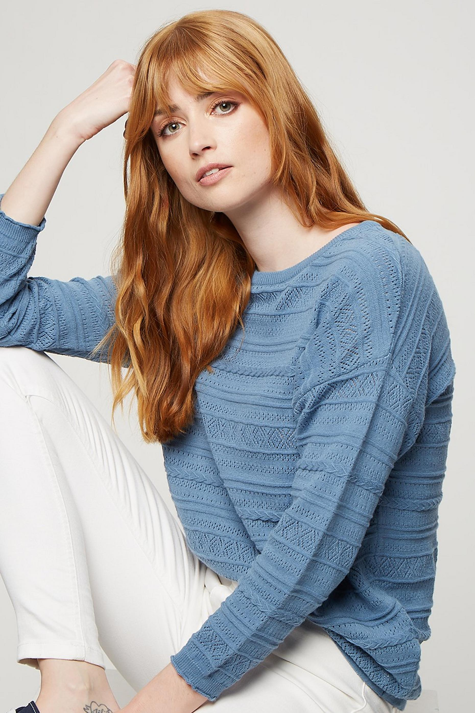 Denim Blue Pointelle Batwing Jumper