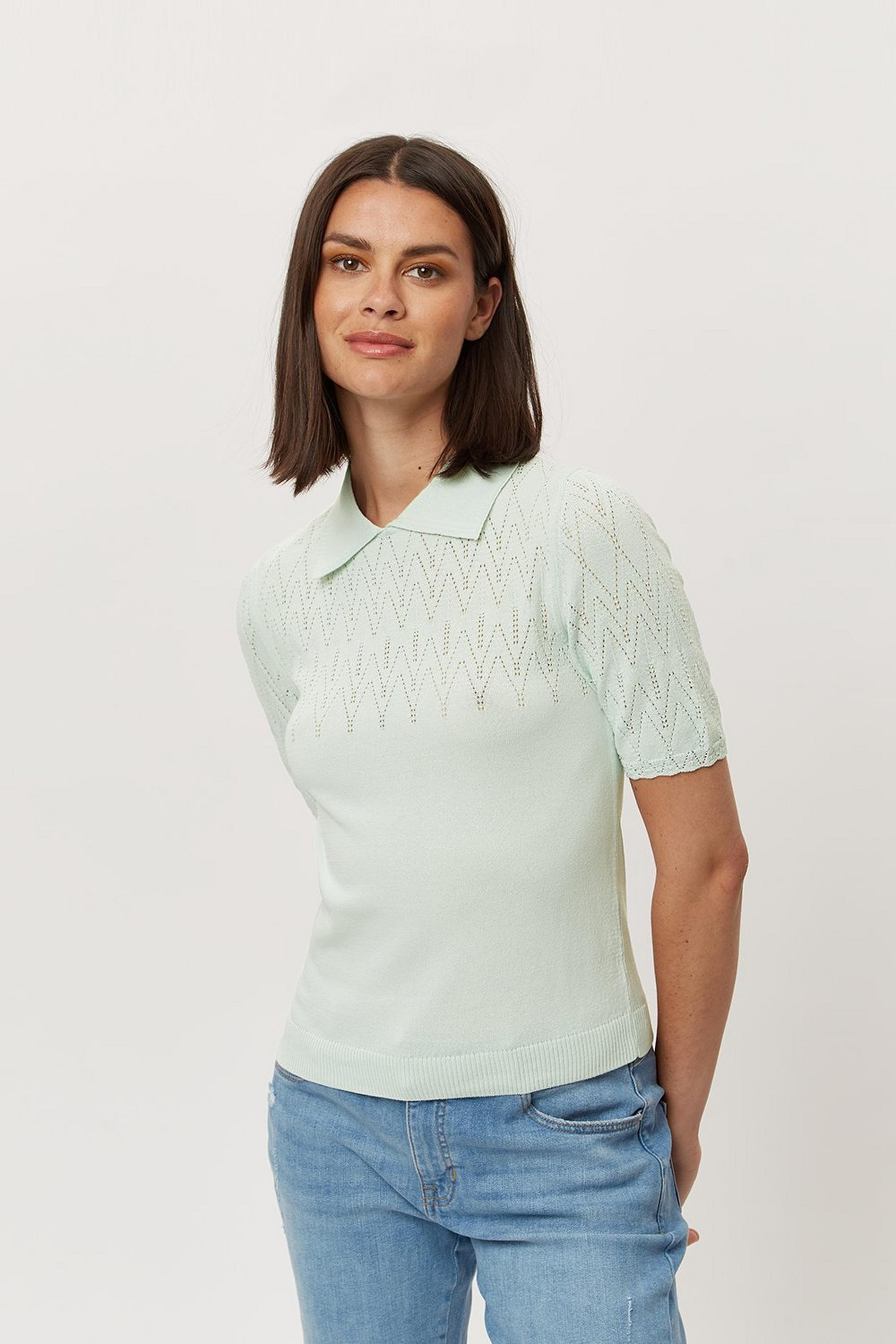 Mint Collar Pointelle Short Sleeve Jumper
