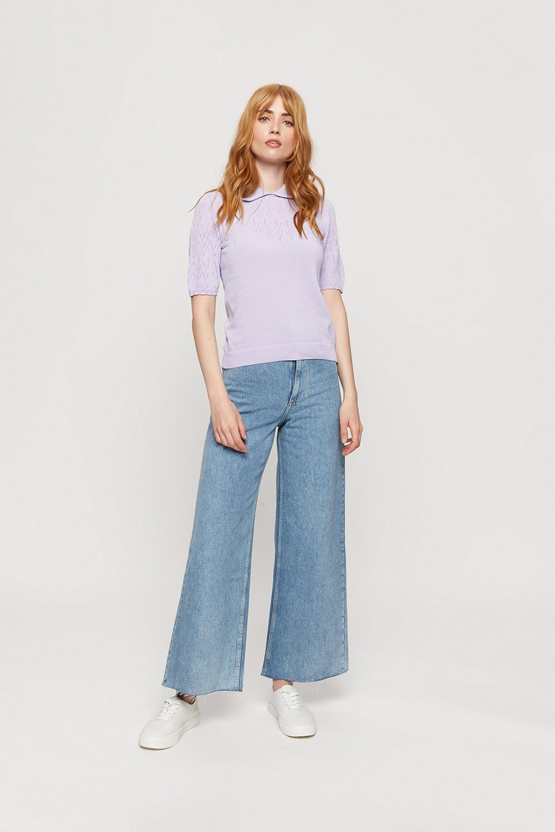Lilac Collar Pointelle Short Sleeve Jumper