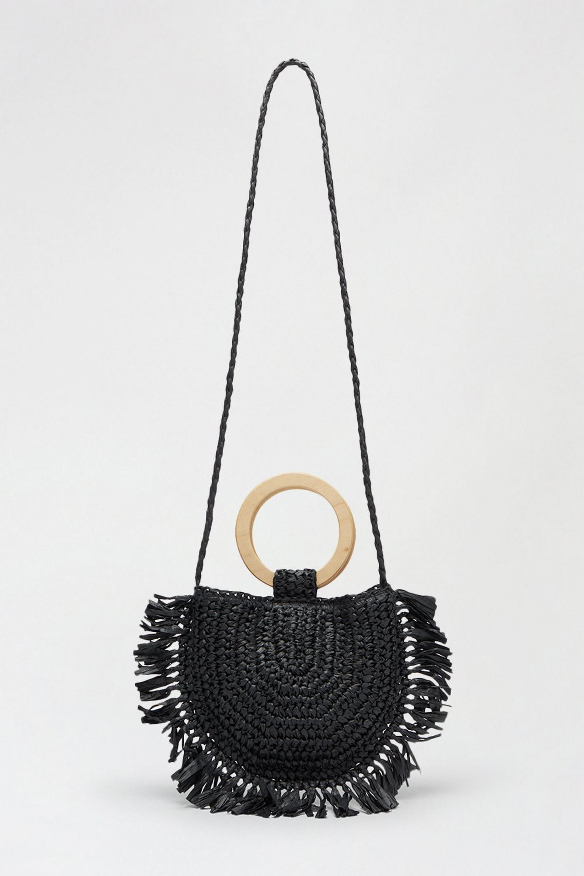 Southbeach Fringe Detail Straw Crossbody Bag