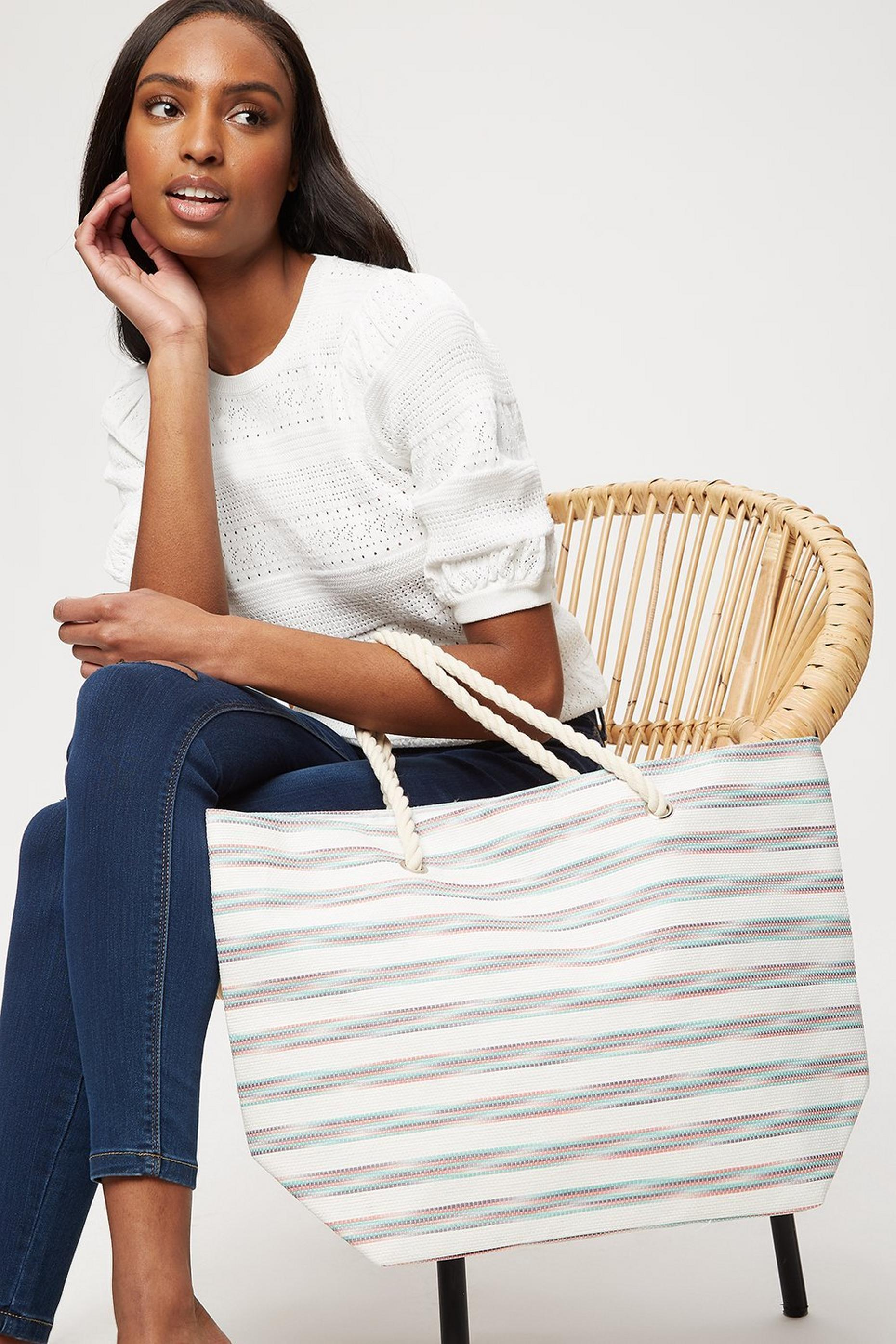 Southbeach Stripe Rope Handle Beach Bag