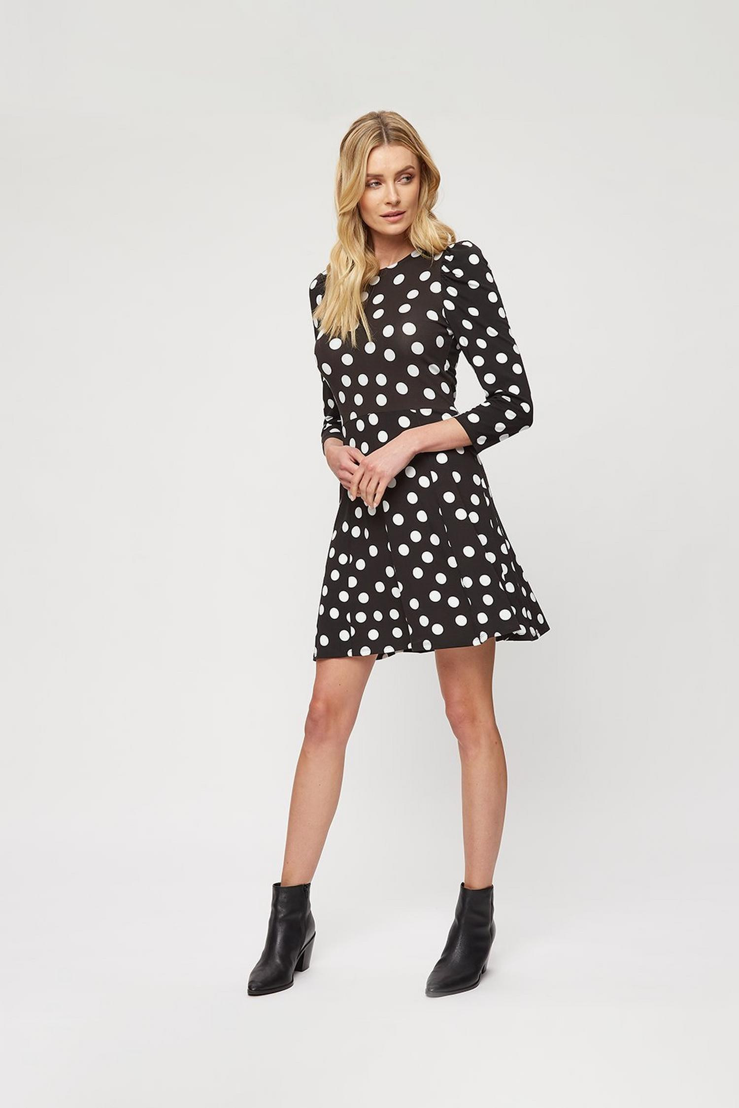 105 Black Spot Fit And Flare Dress image number 2