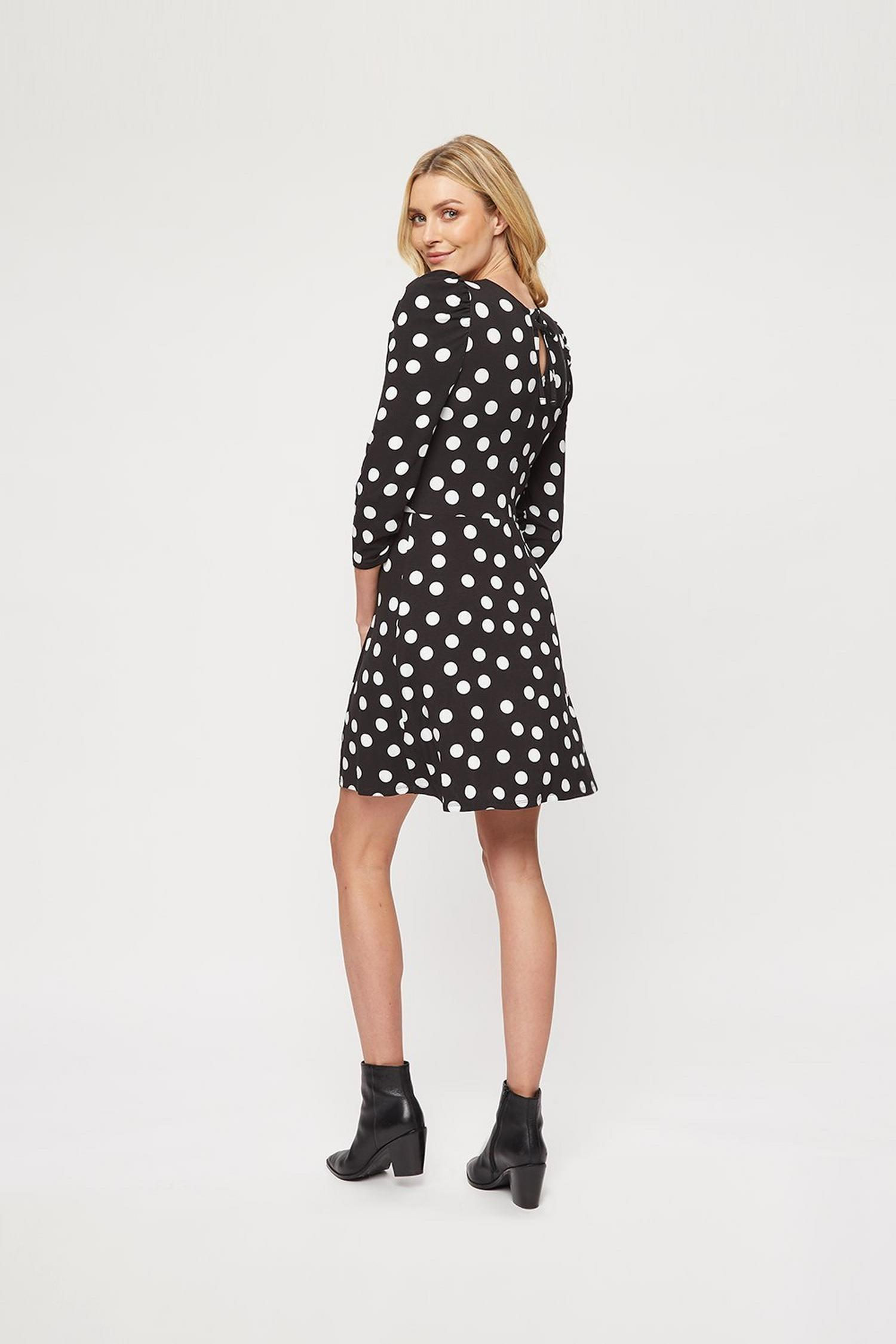 105 Black Spot Fit And Flare Dress image number 3