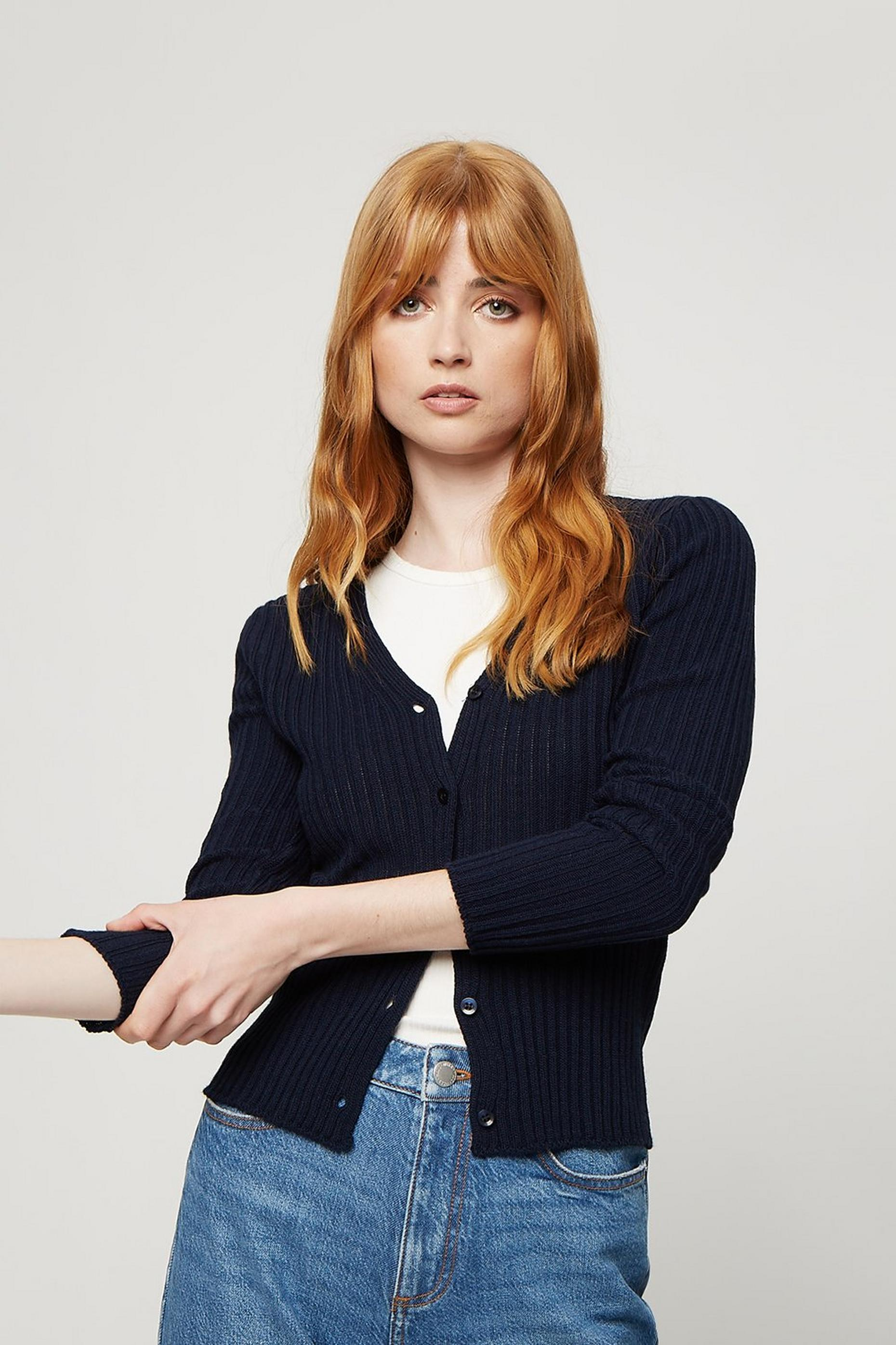 Navy V Neck Ribbed Cardigan