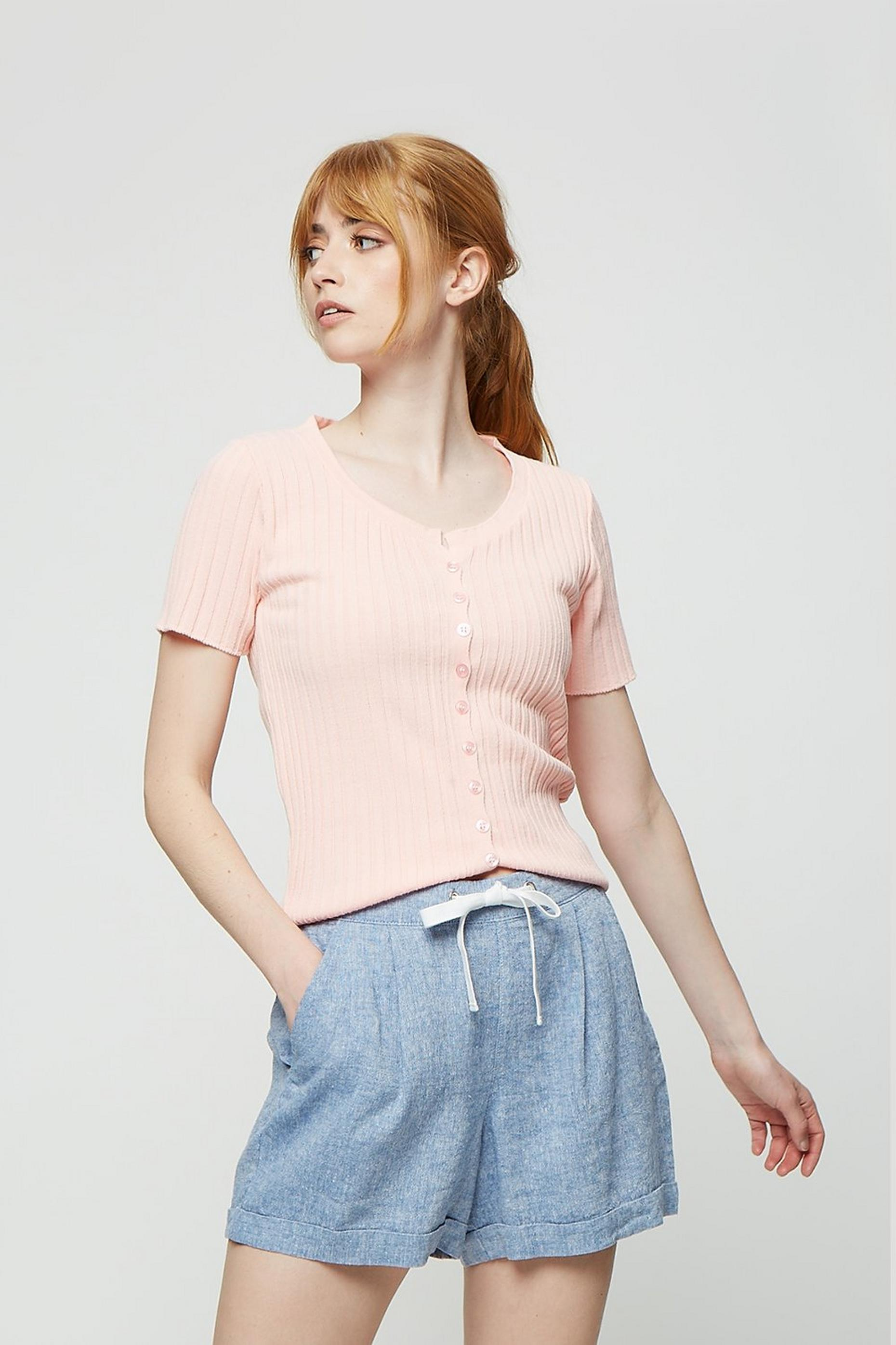 Apricot Knit Rib Button Tee