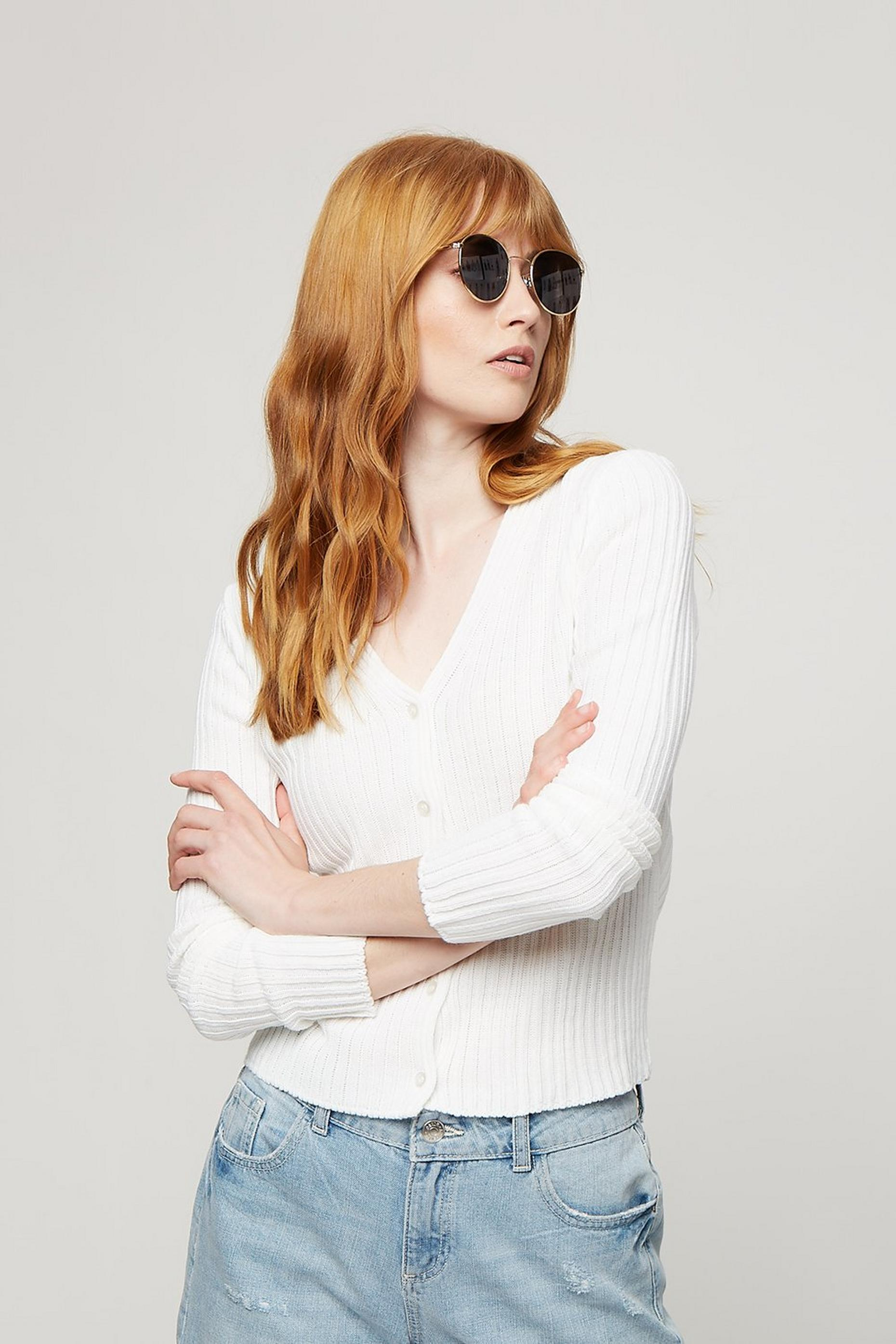 Ivory V Neck Ribbed Cardigan