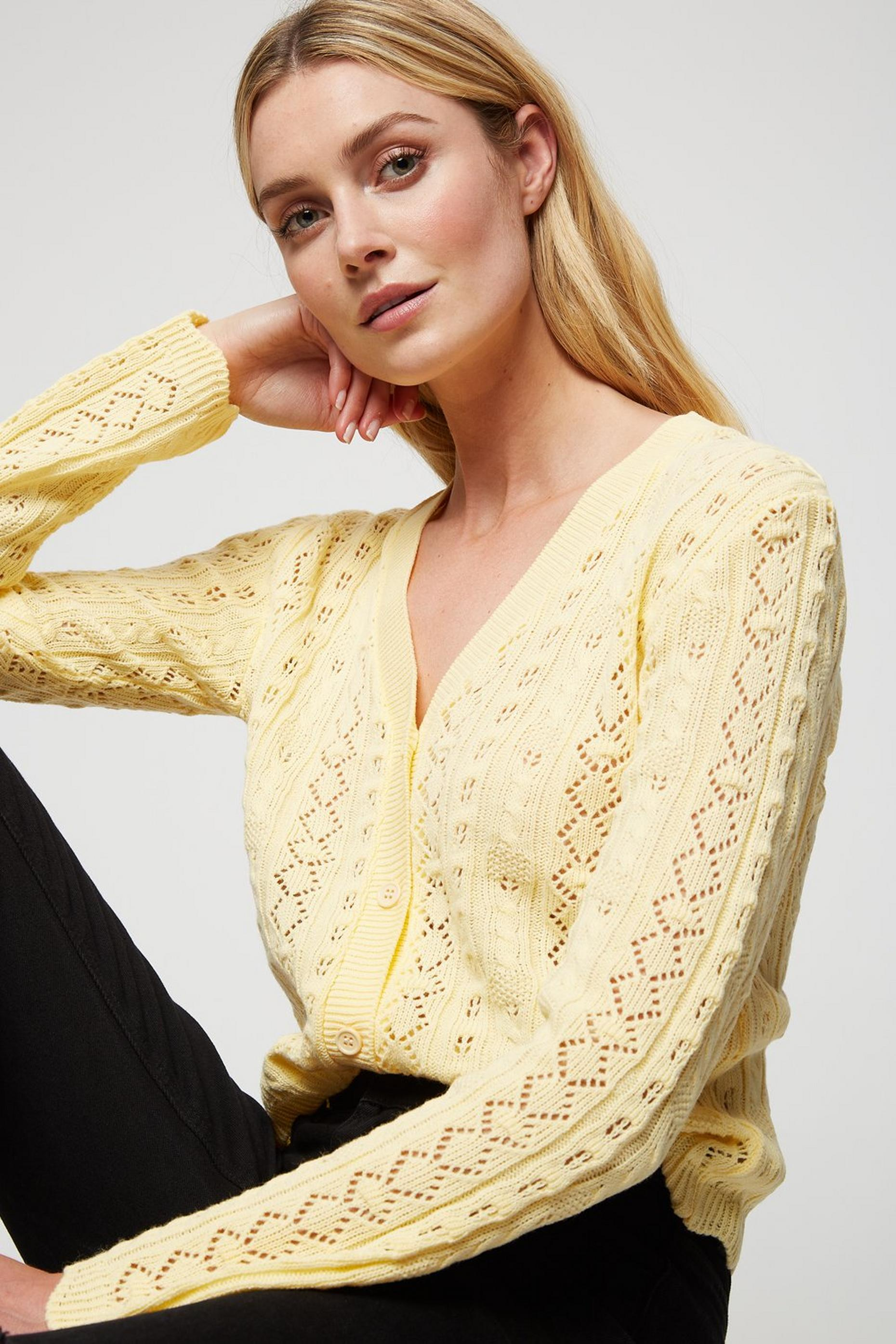 Lemon Pointelle Cardigan