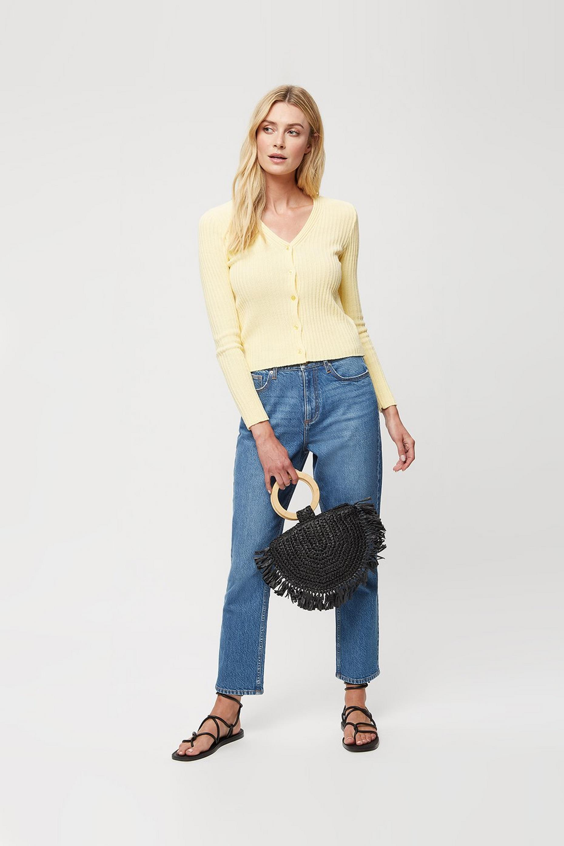 Lemon V Neck Ribbed Cardigan