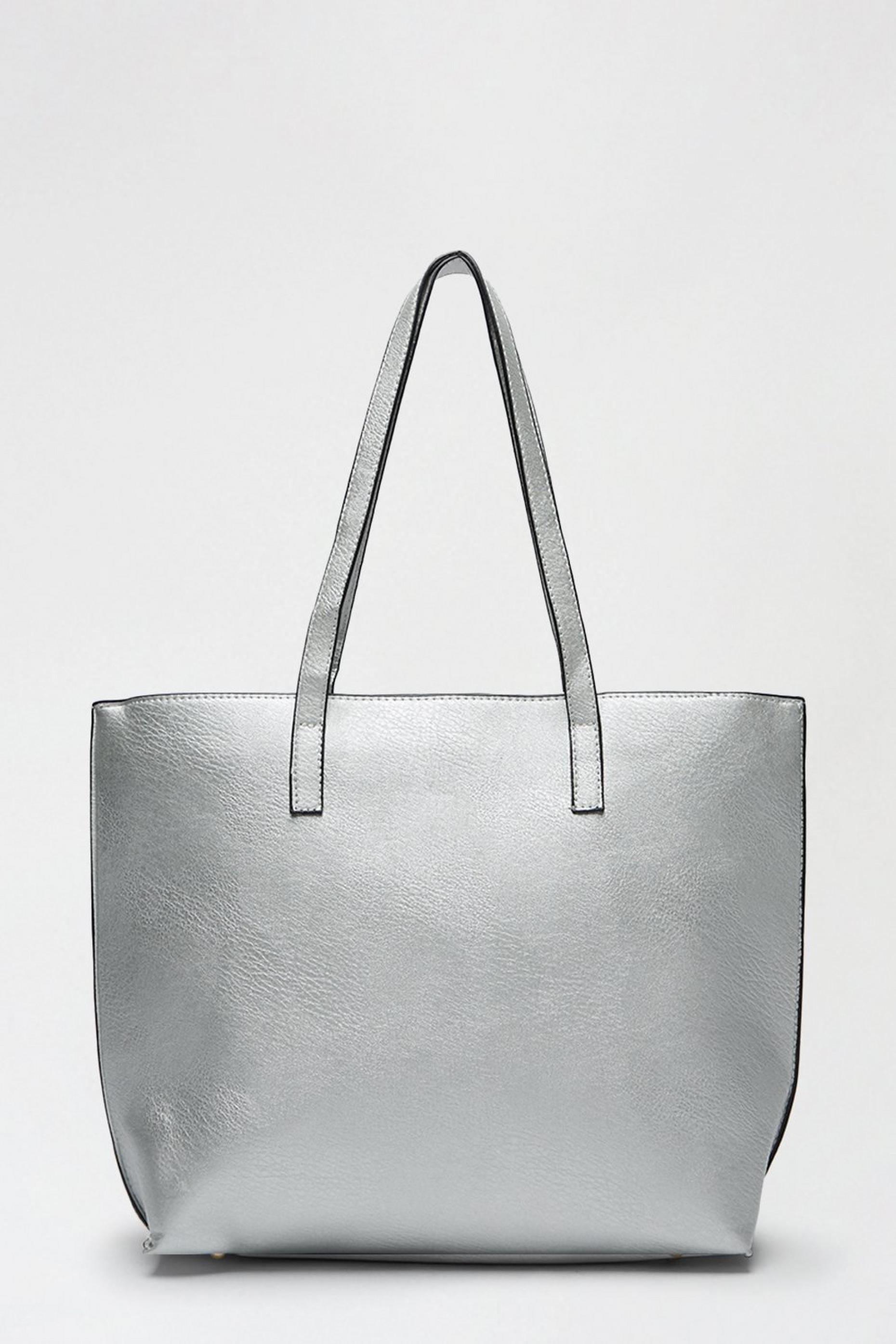 Metallic Silver Shopper Bag