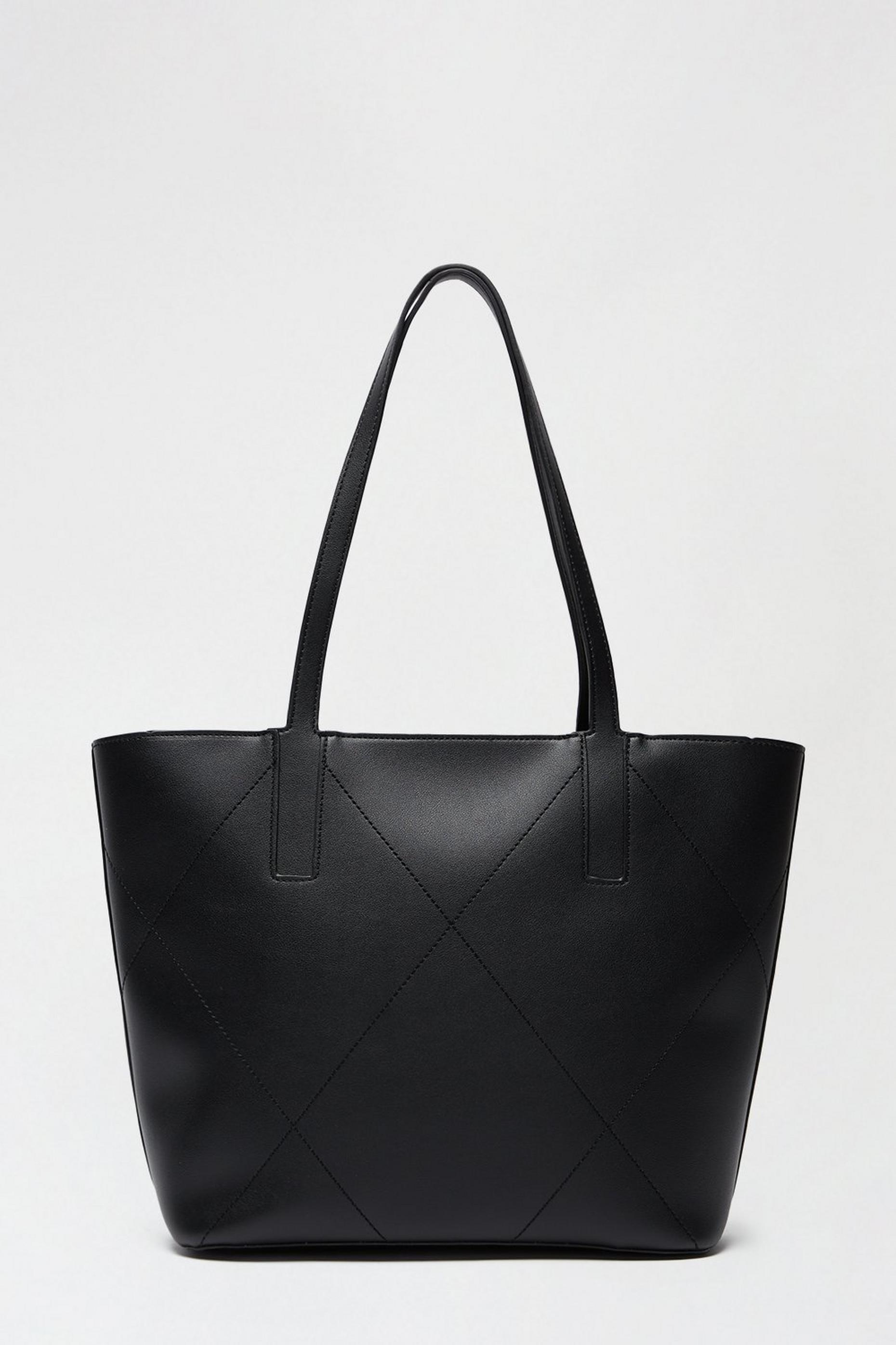 Stitch Detail Zip Top Shopper Bag