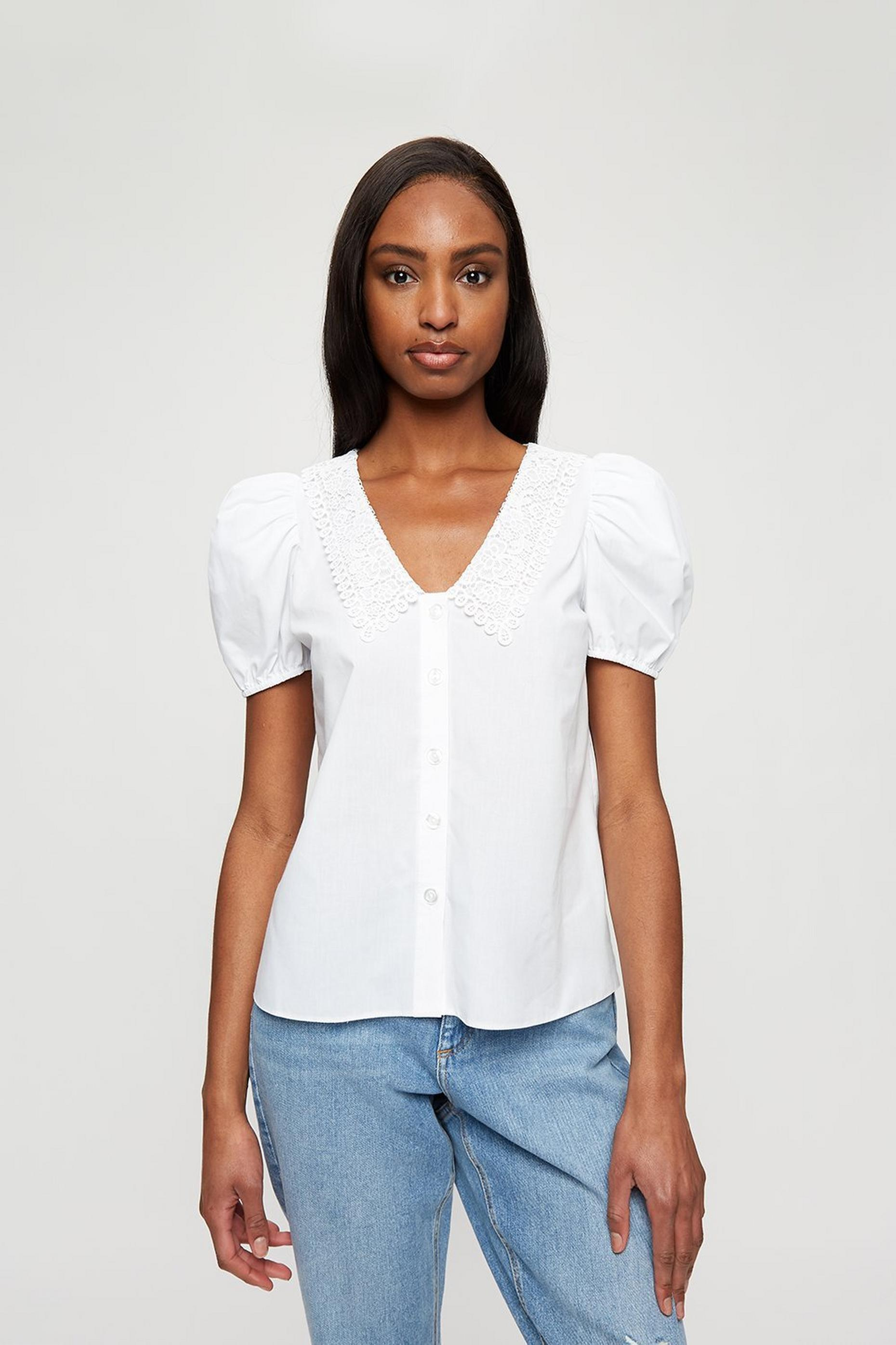 Ivory Poplin Crochet Collar Top