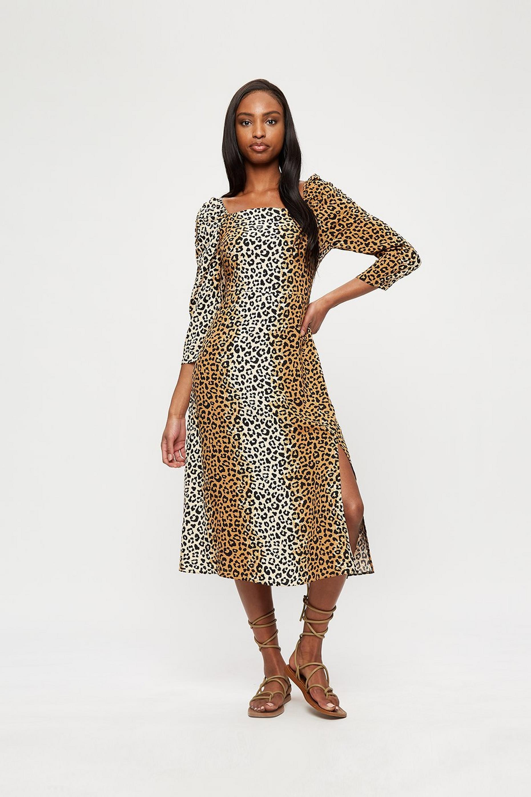 Leopard Split Midi Dress