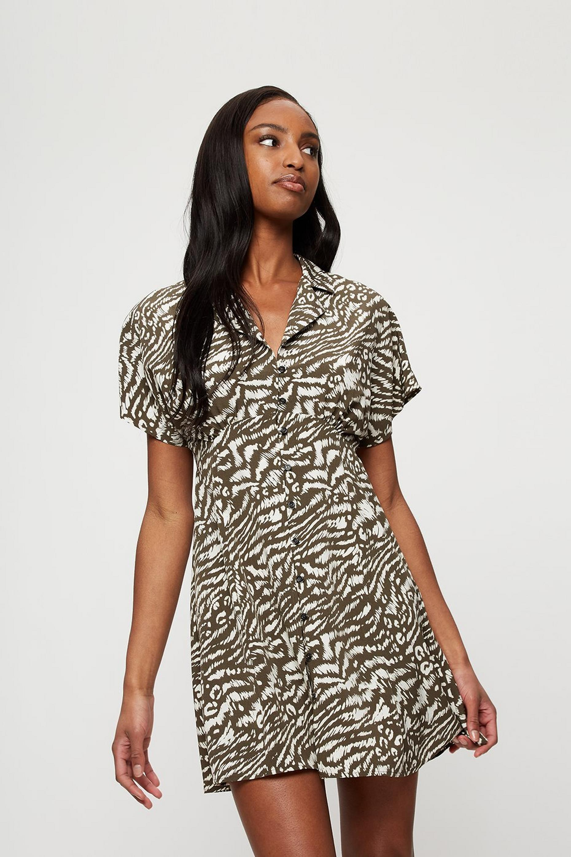Khaki Animal Resort Shirt Dress