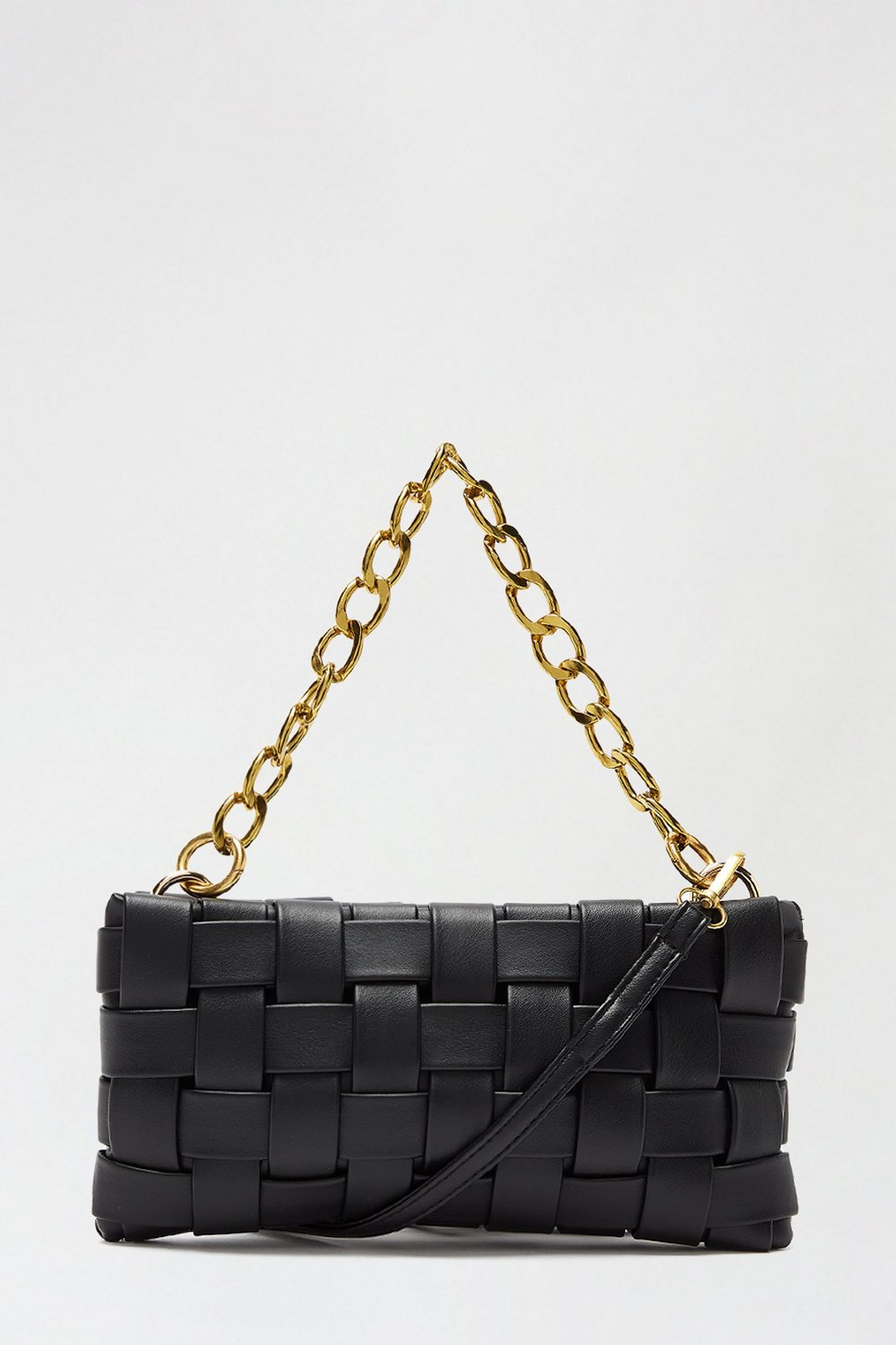 Chain Detail Woven Cross Body Bag