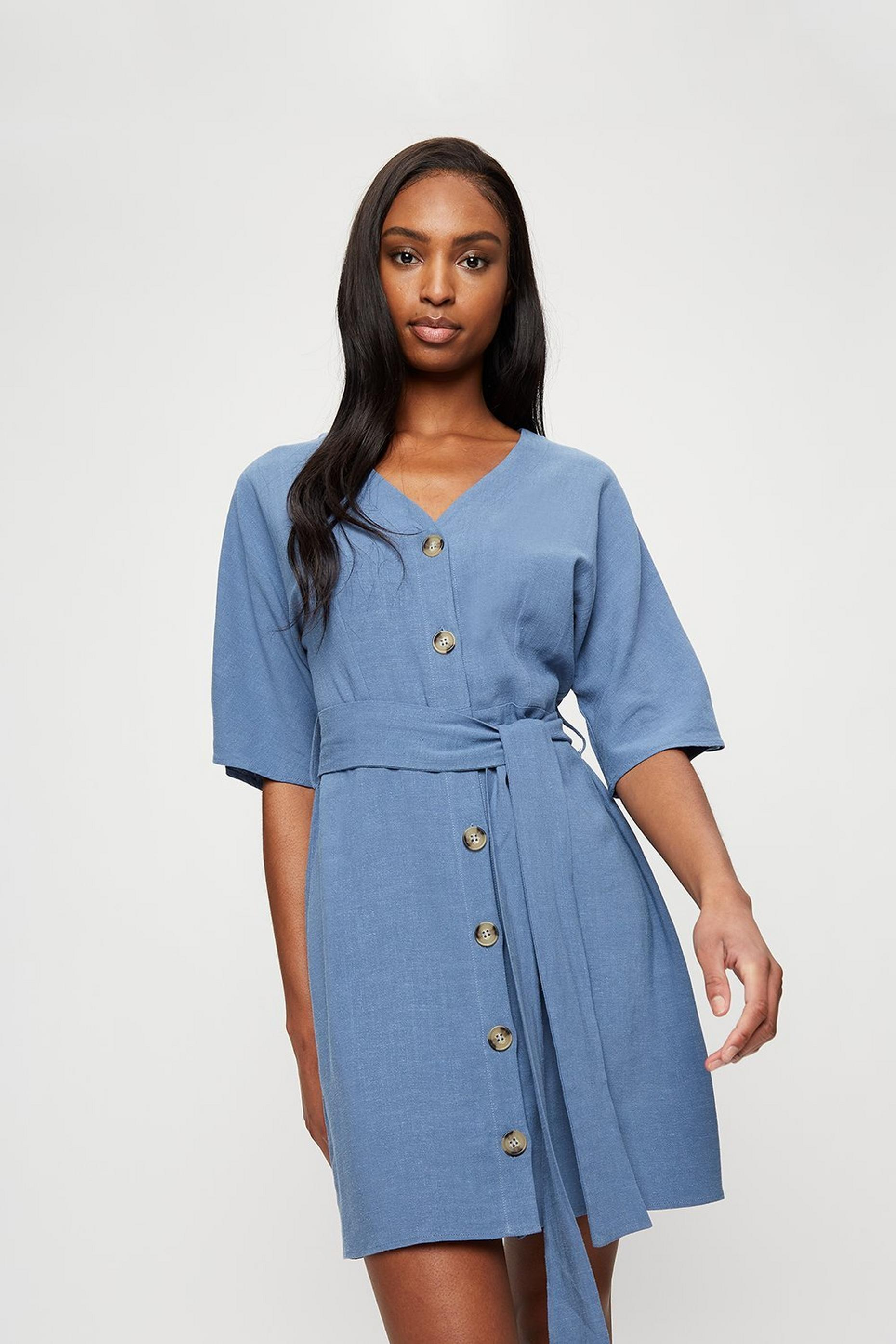 Blue Button Mini Shirt Dress