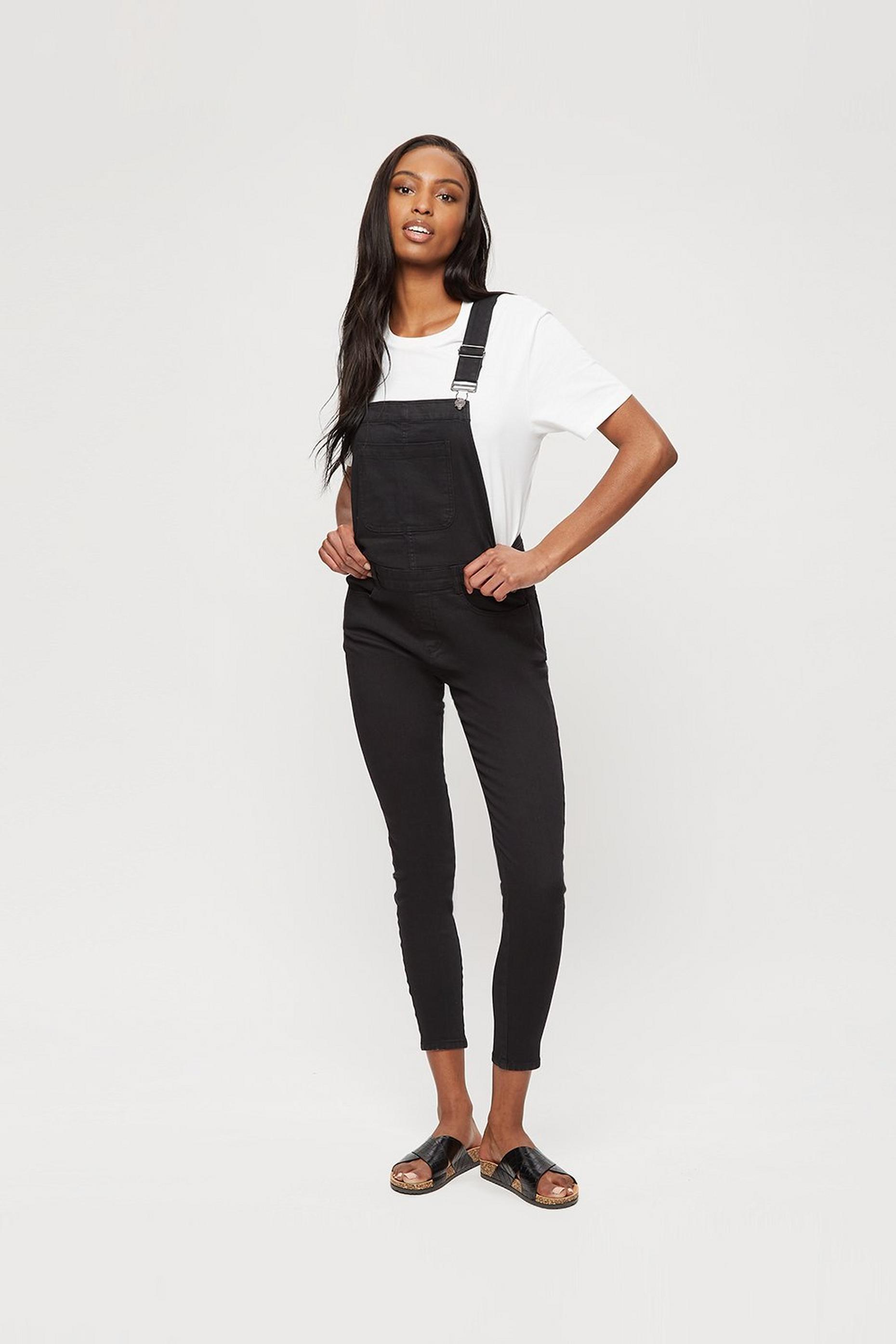 Black Casual Skinny Dungaree