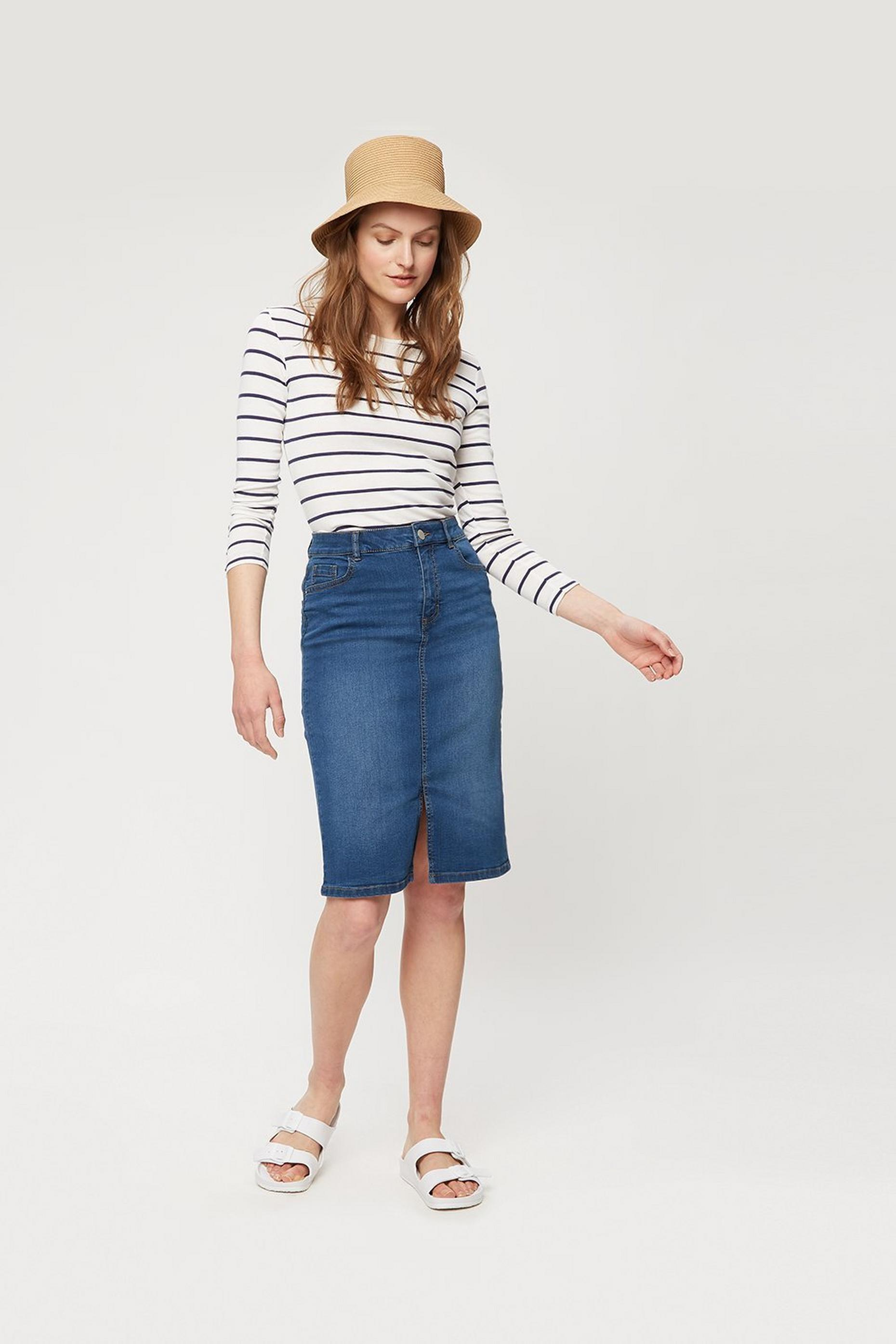 Casual Denim Midi Skirt