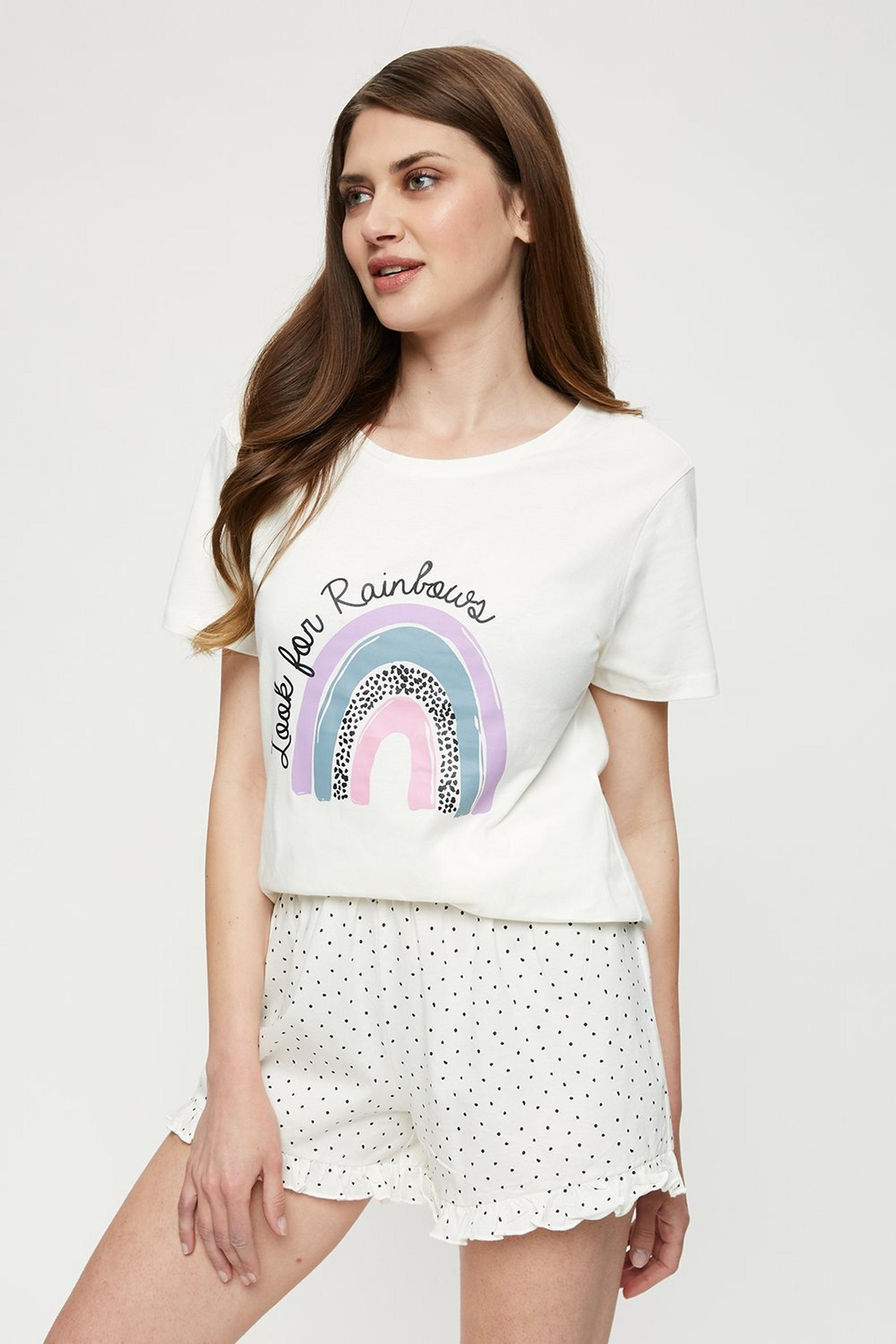 Tall Ivory Rainbow Printed Pyjama Set