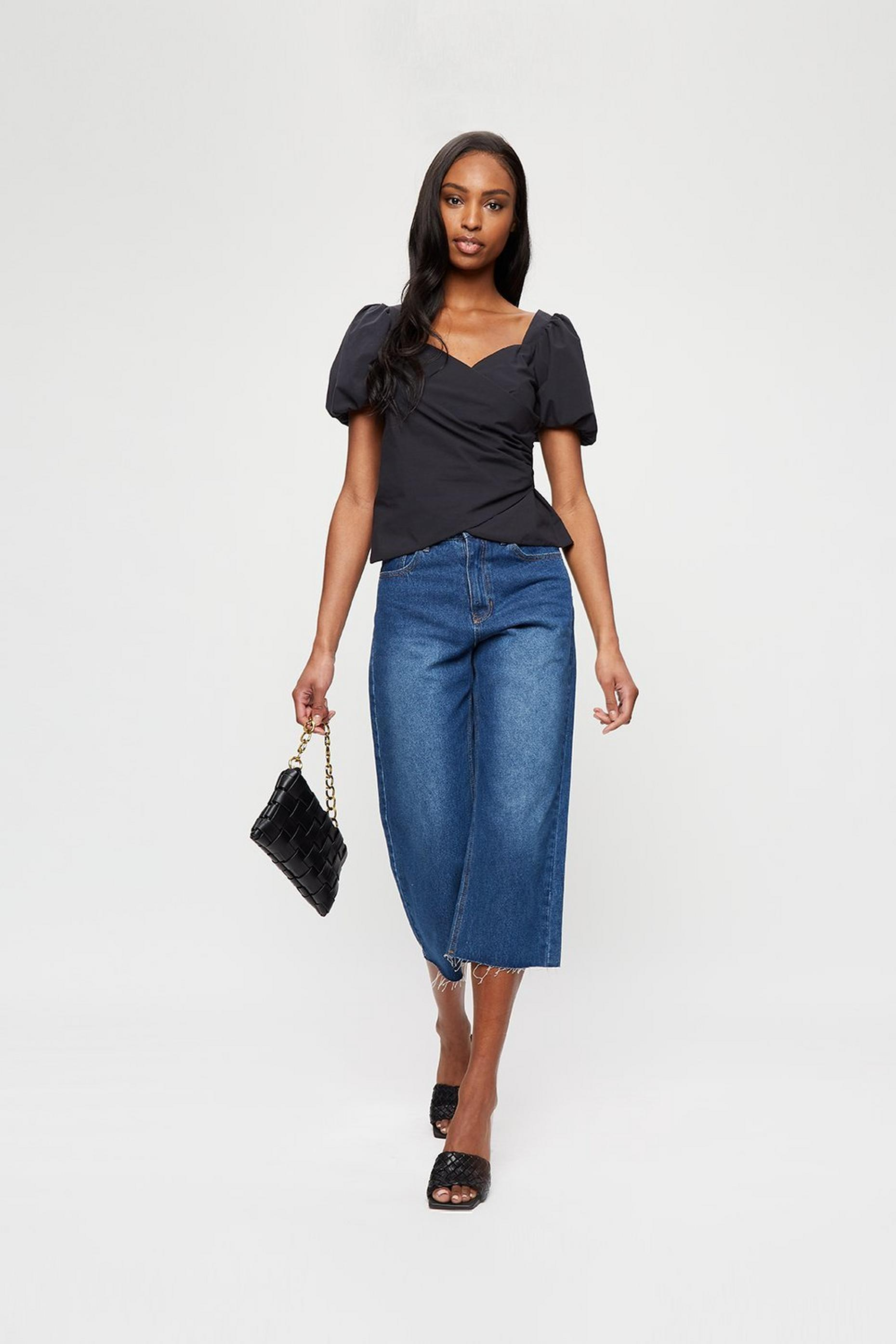 Black Poplin Wrap Top