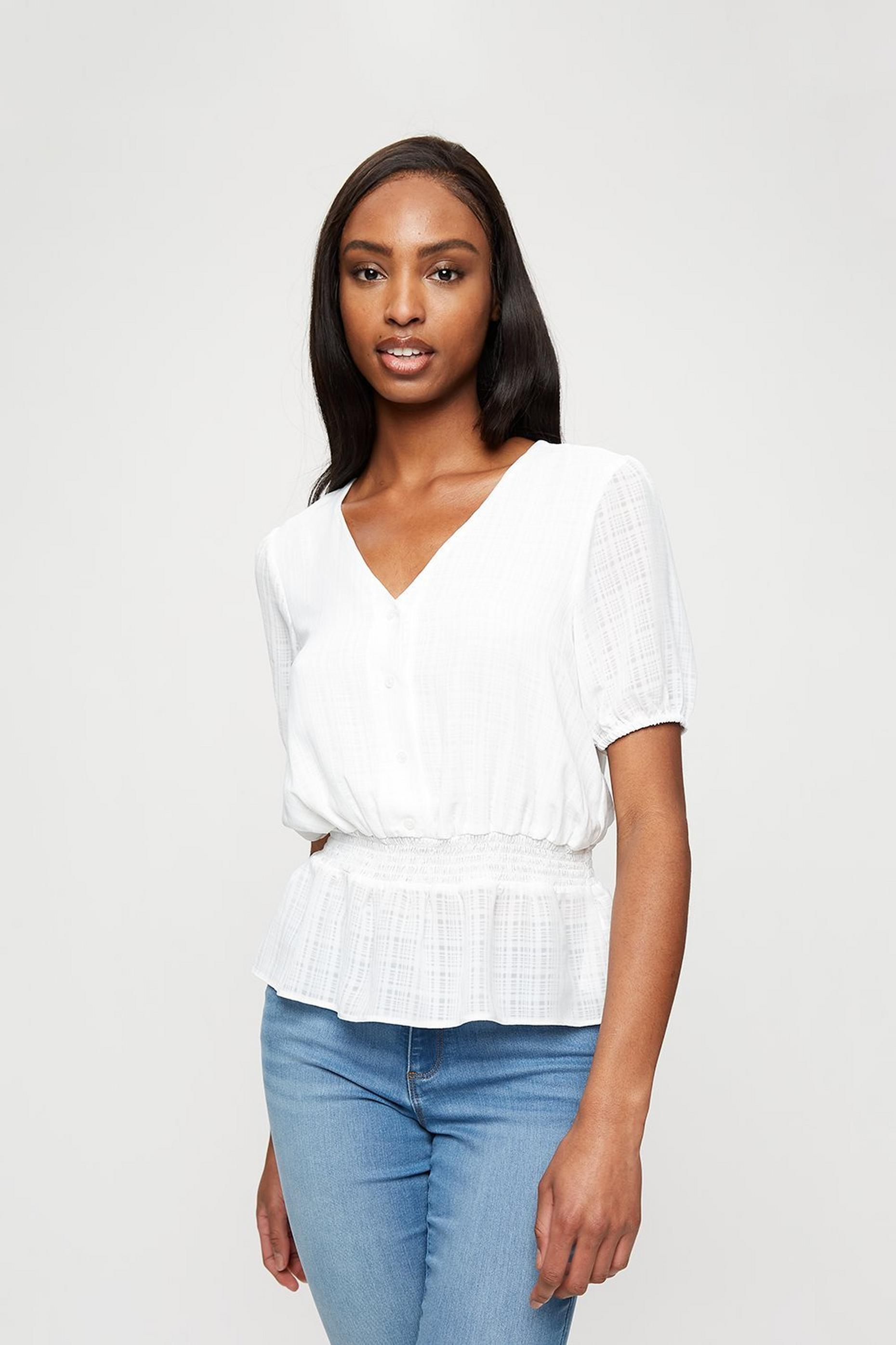 Ivory Chiffon Check Tea Top