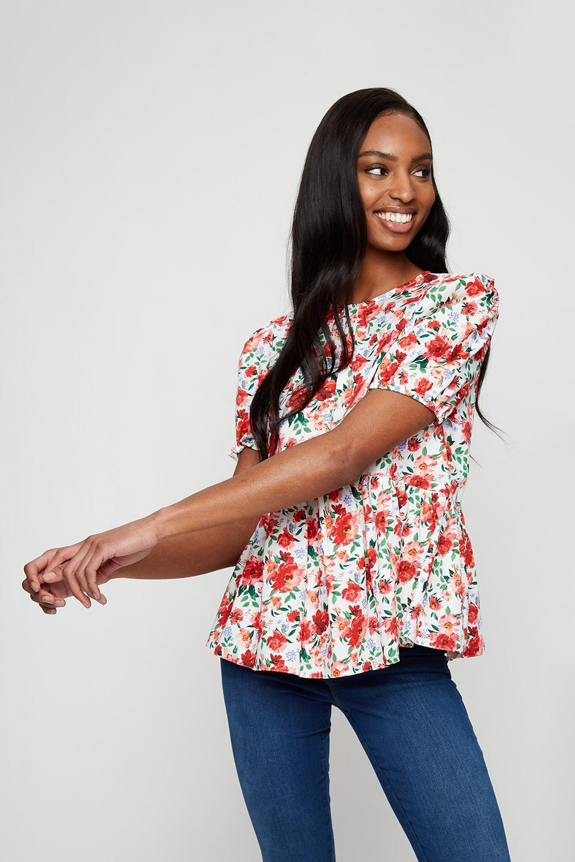 Bright Floral Print Peplum Top