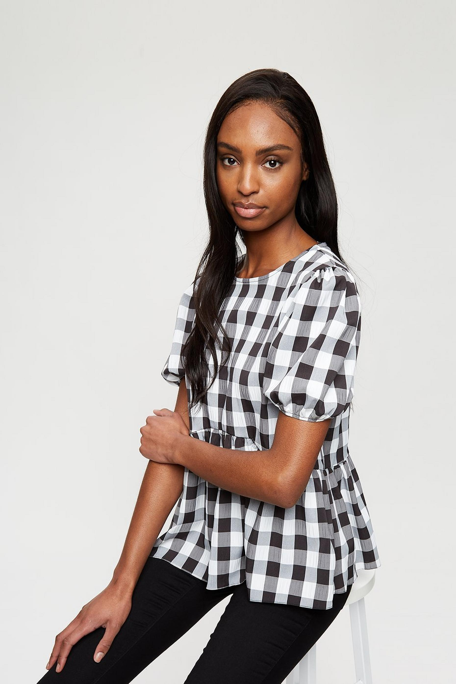 Black And White Gingham Peplum
