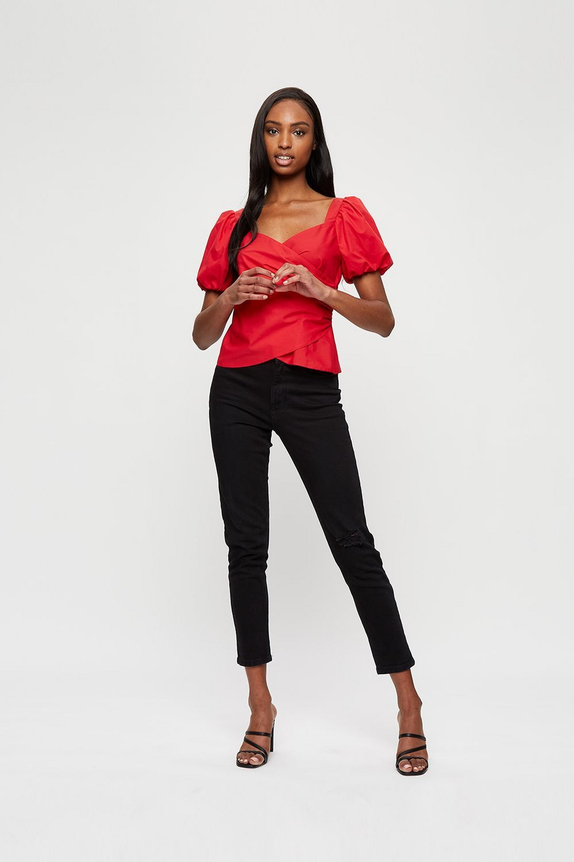 Red Poplin Wrap Top