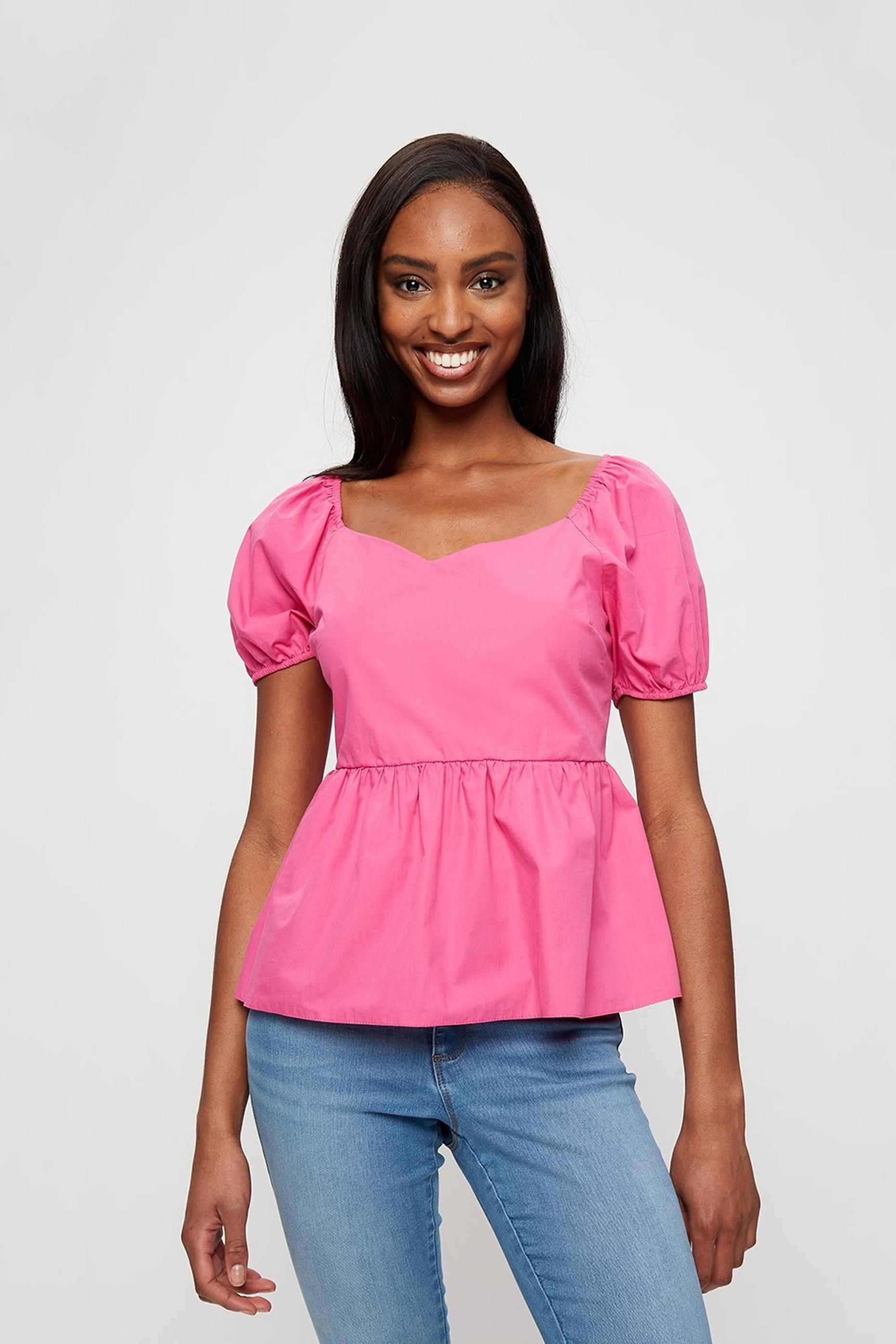 Hot Pink Sweetheart Poplin Top
