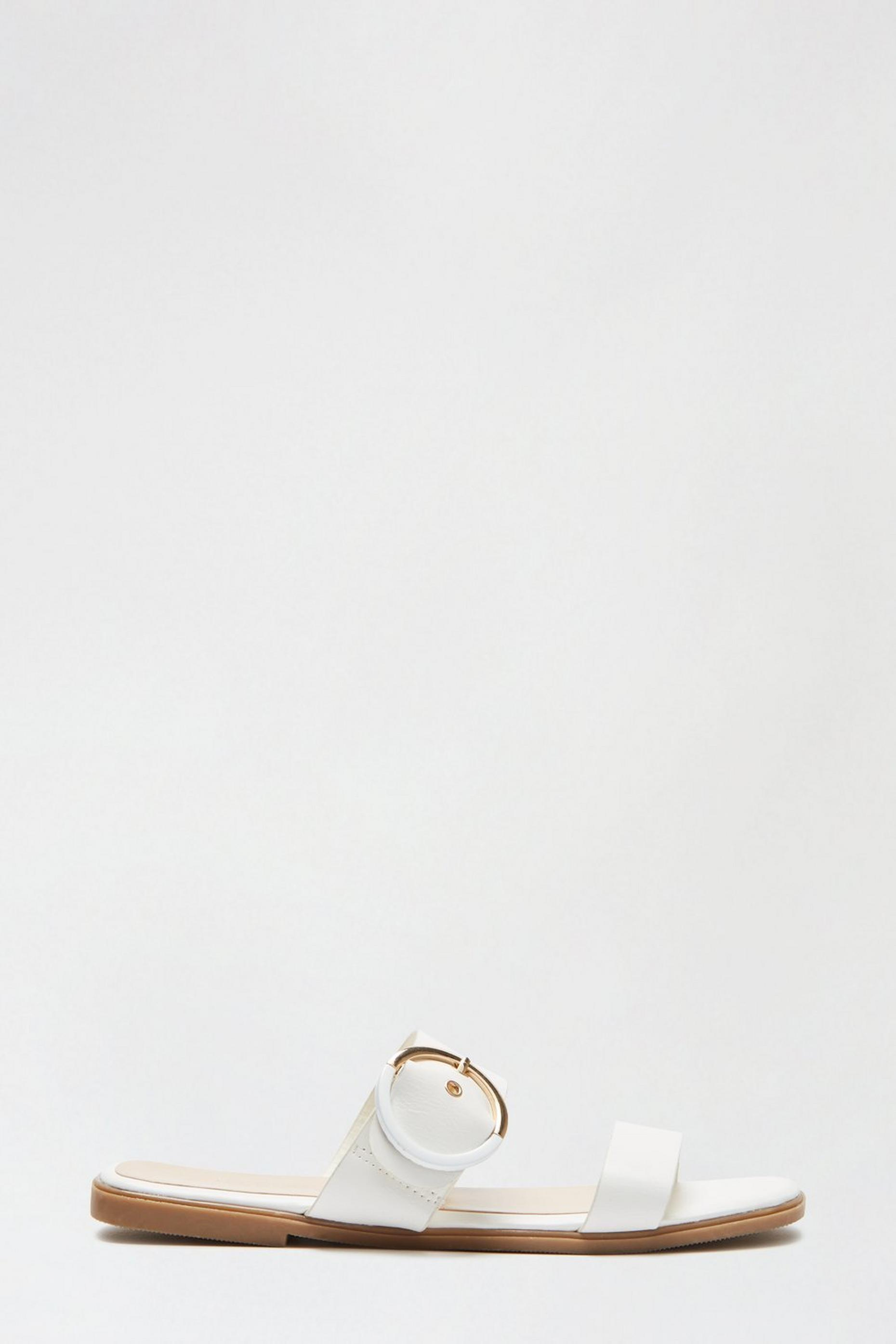 White Flatter Buckle Detail Sandal