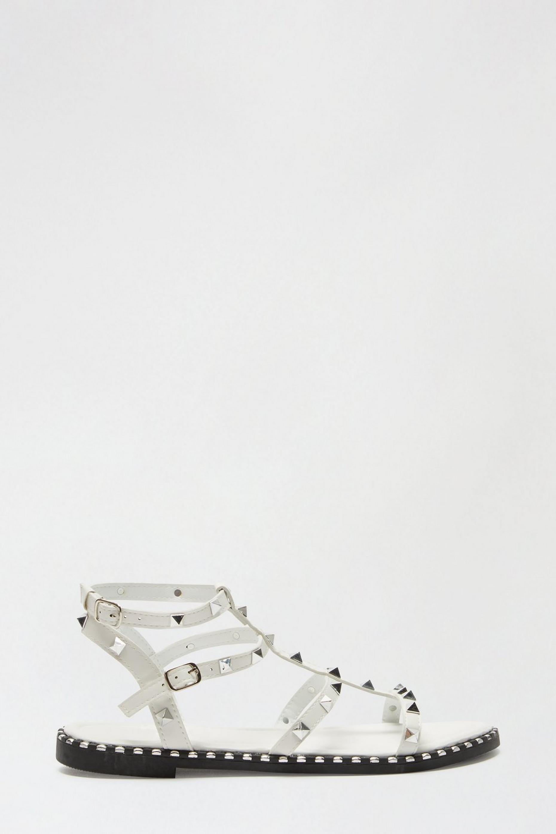 White Favour Studded Gladiator Sandal