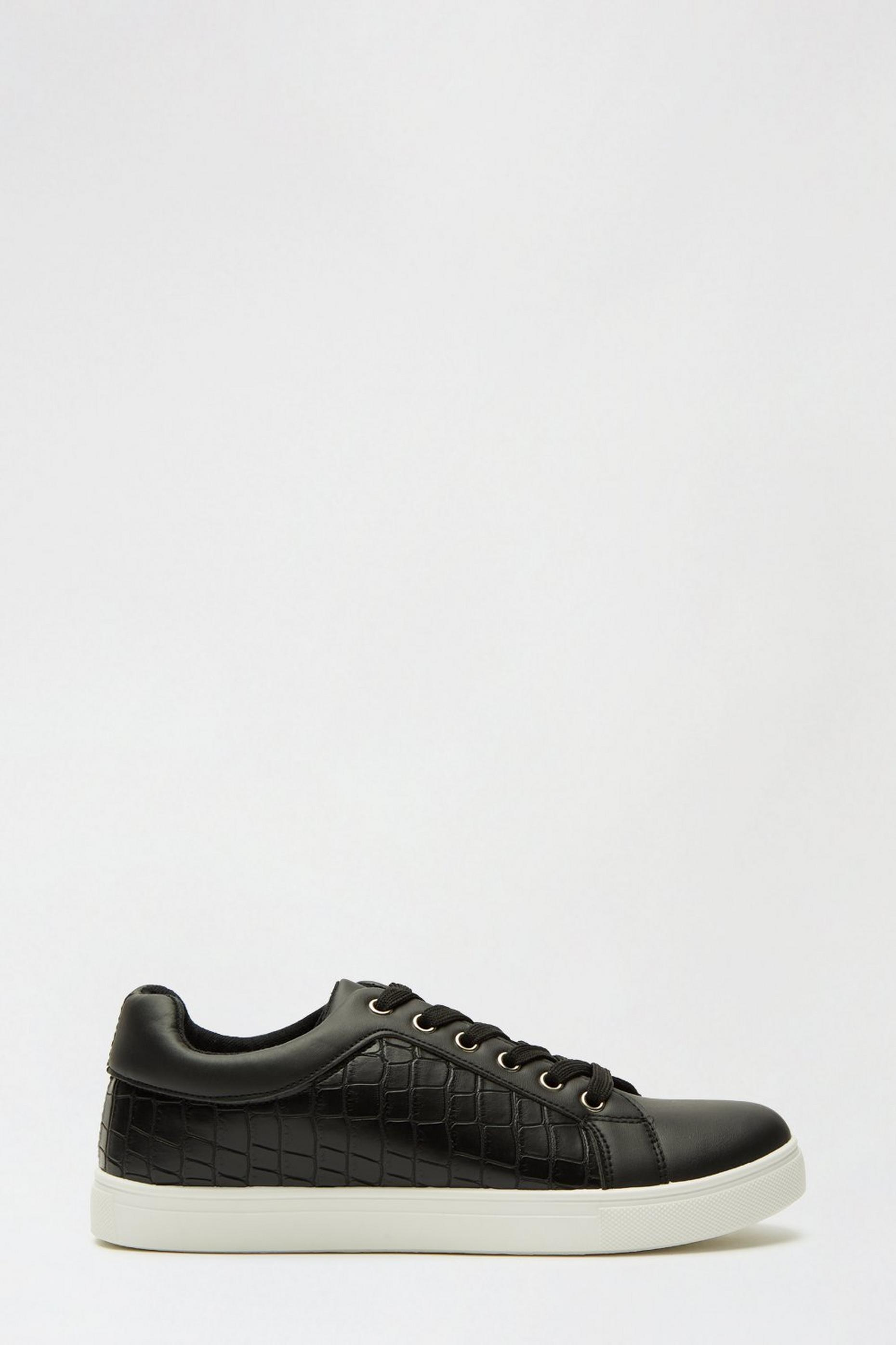 Black Imelda Croc Detail Trainer