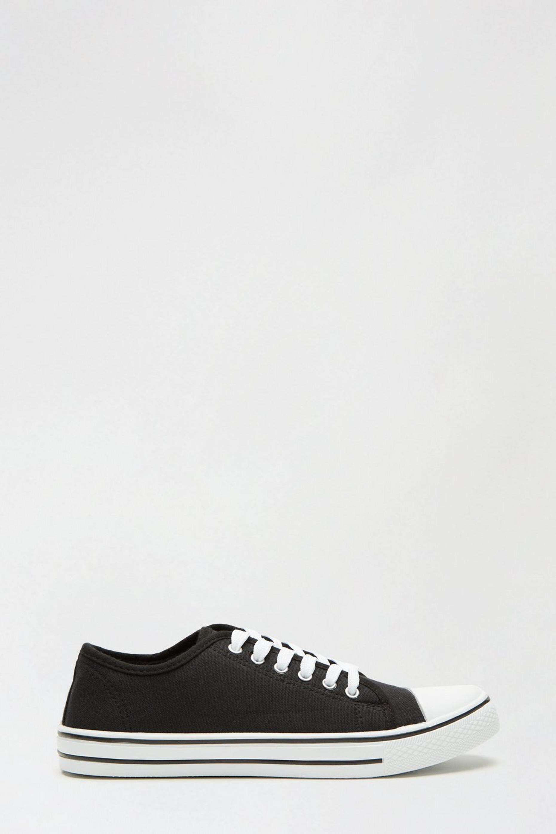 Black India Canvas Lace Up Trainer