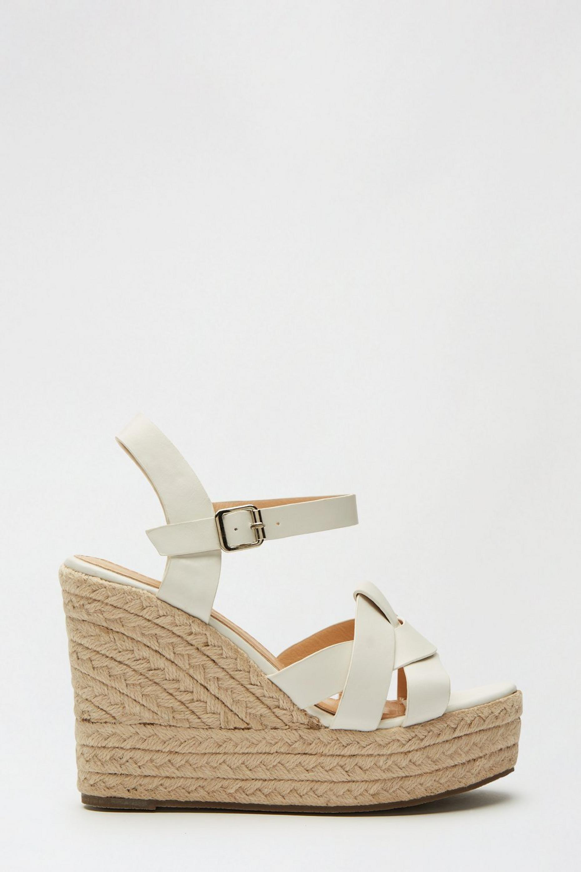 White Ramble Woven Espadrille Wedge