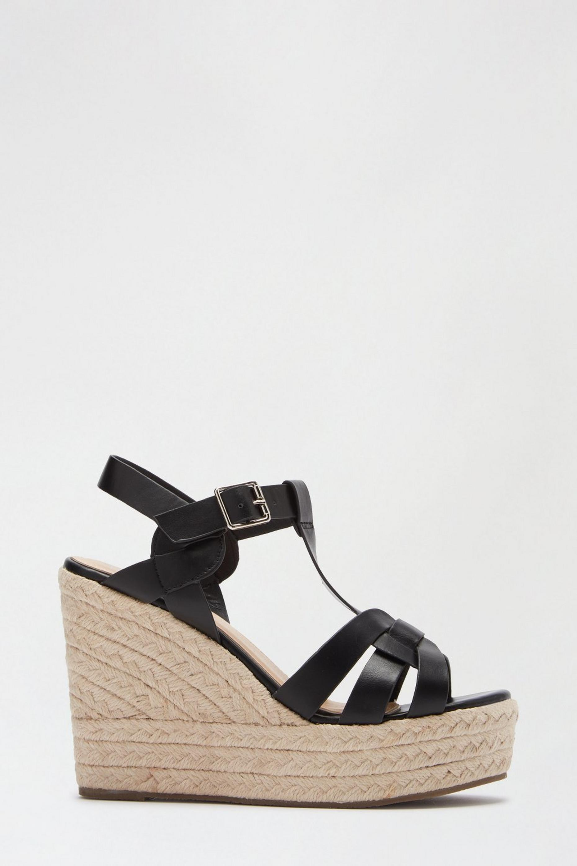Black Row Woven Espadrille Wedge