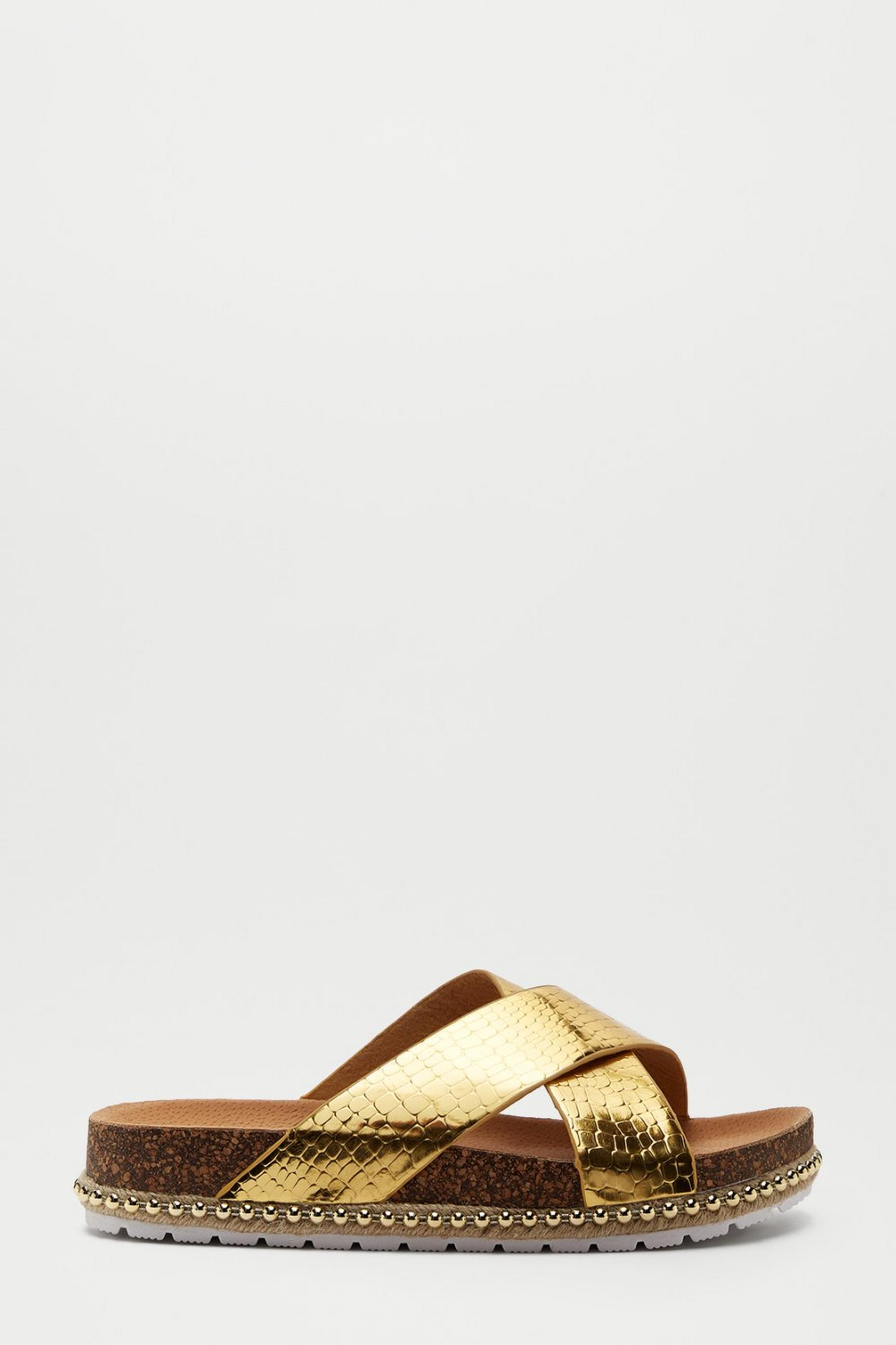 Gold Frenchie Cross Over Footbed Sandal