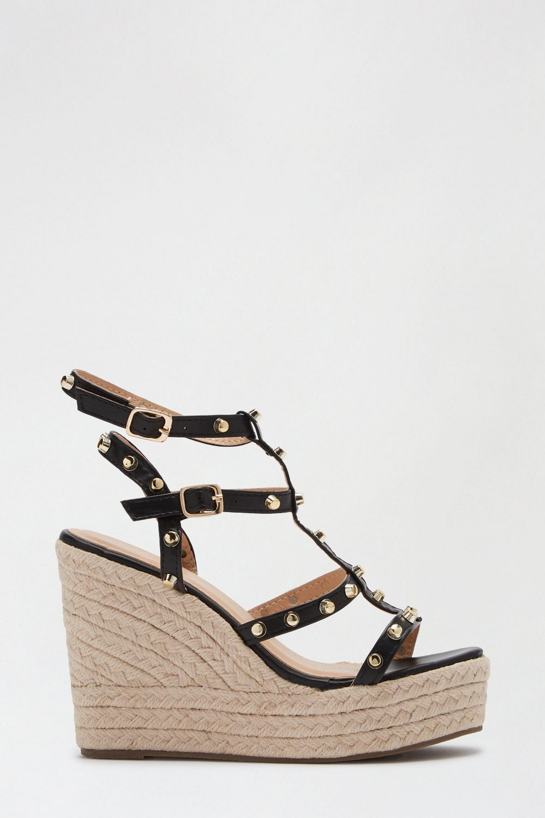 Black Roxy Studded Espadrille Wedge