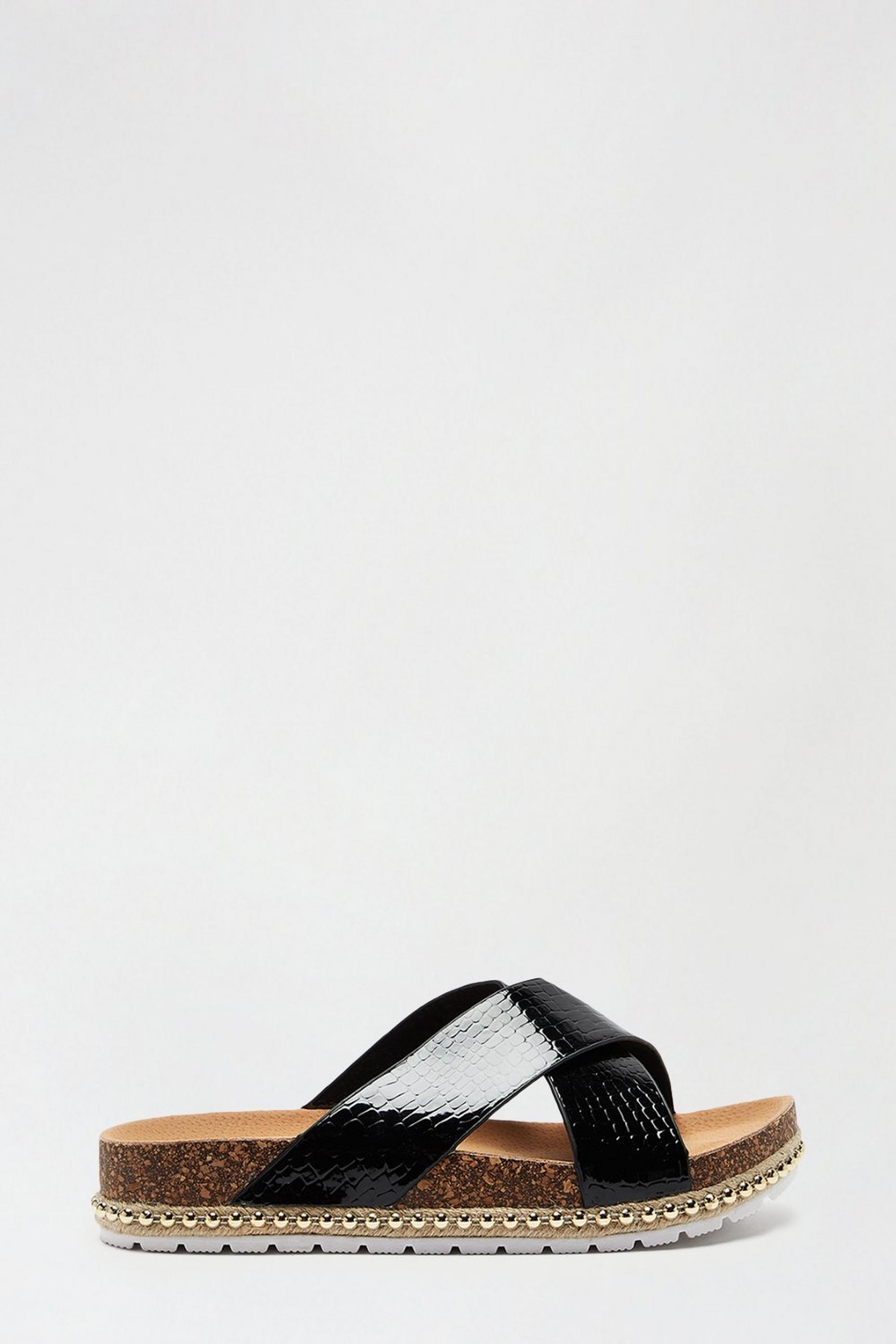 Black Frenchie Cross Over Footbed Sandal